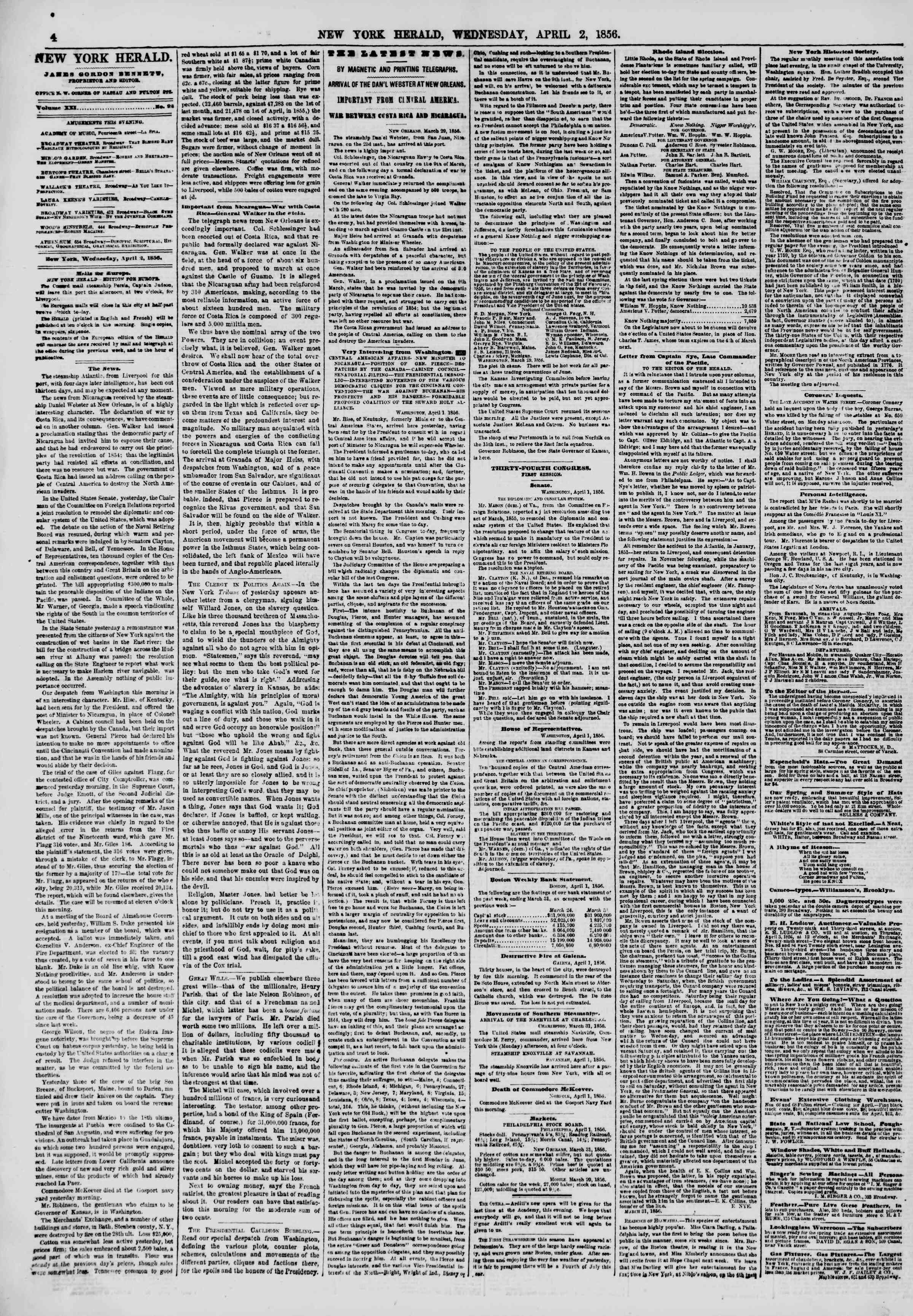 Newspaper of The New York Herald dated April 2, 1856 Page 4