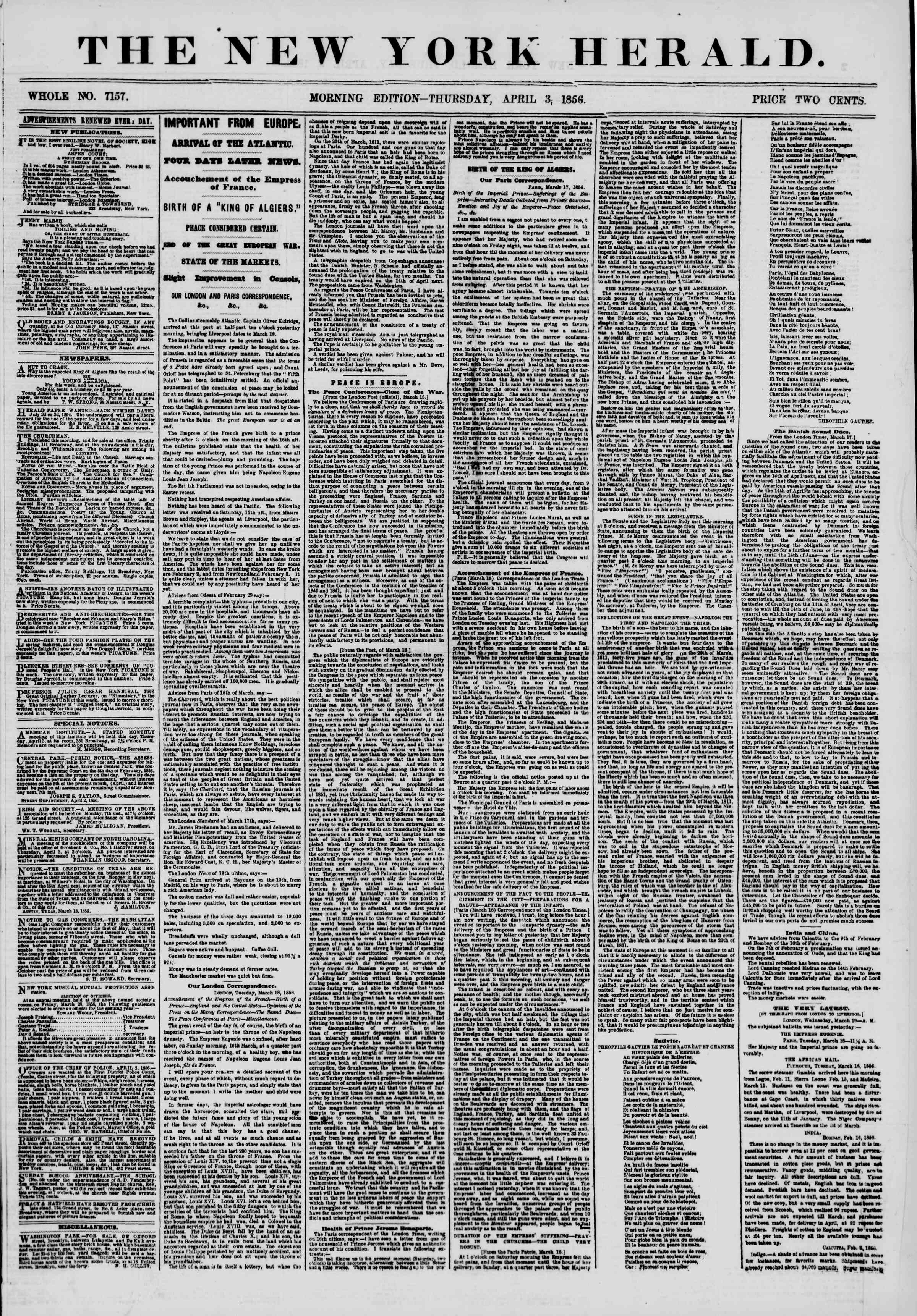 Newspaper of The New York Herald dated April 3, 1856 Page 1