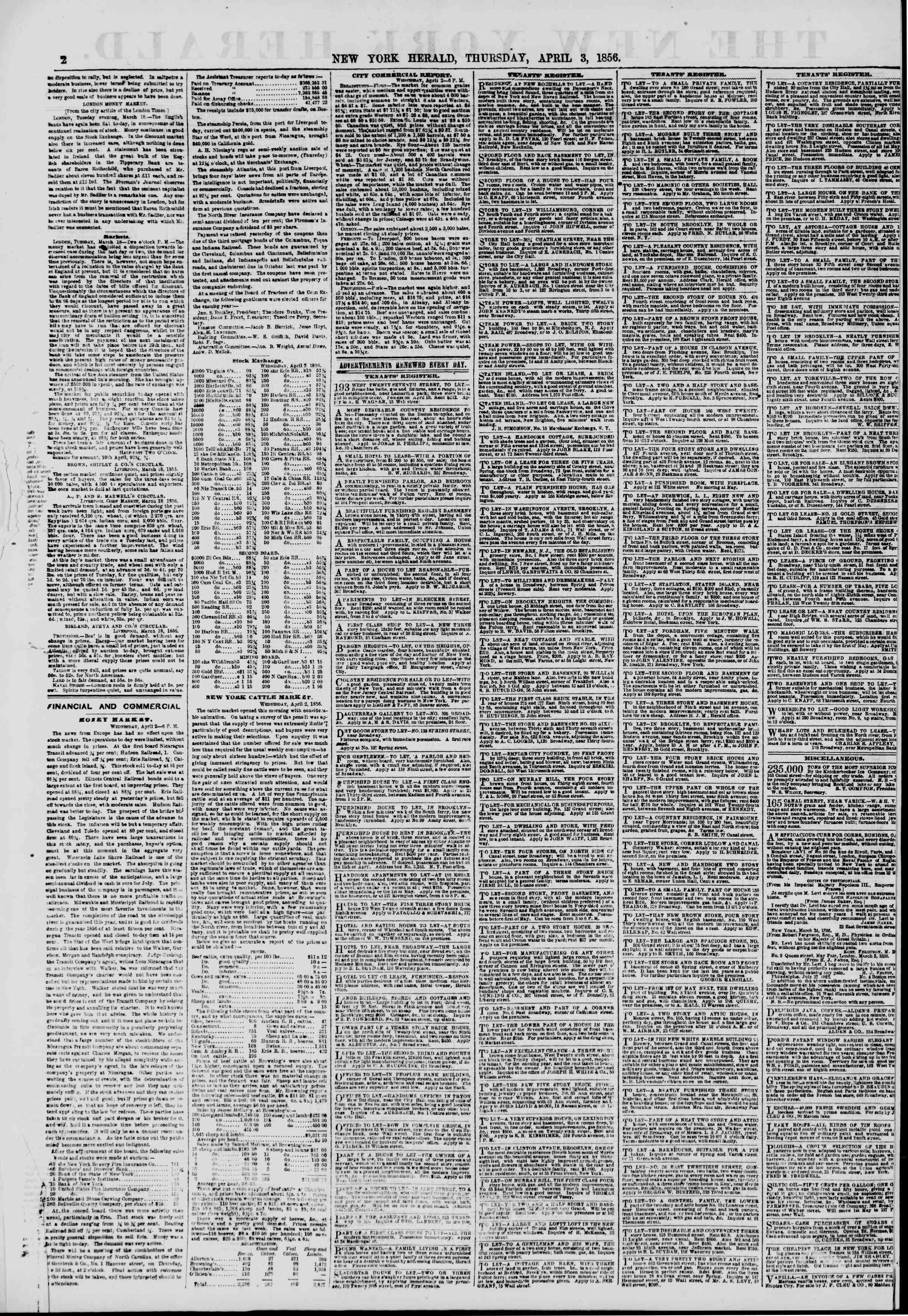 Newspaper of The New York Herald dated April 3, 1856 Page 2