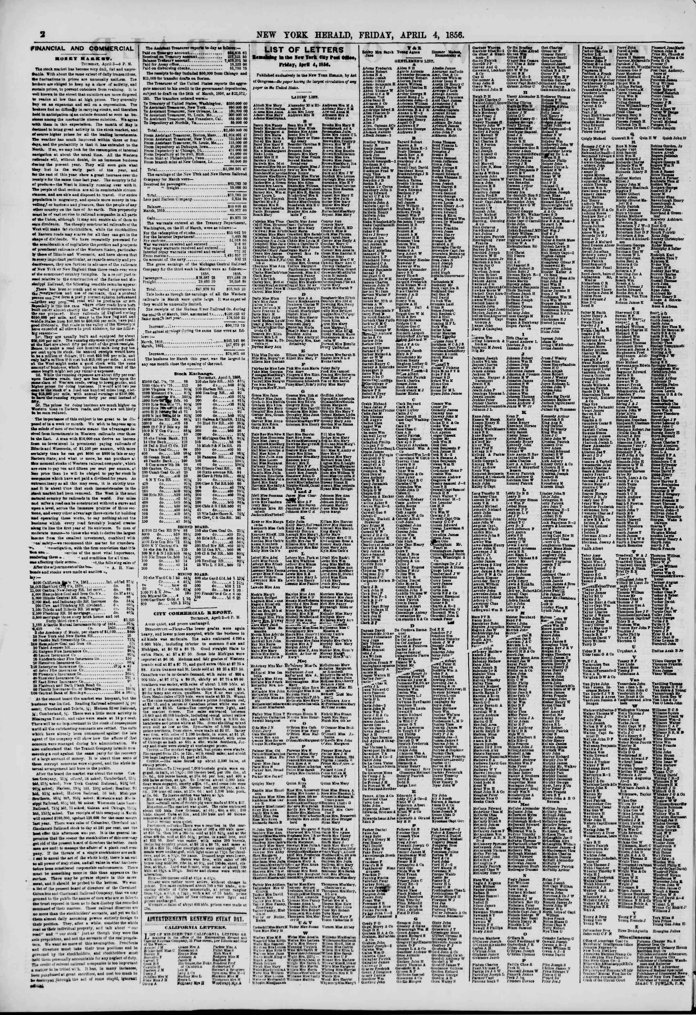 Newspaper of The New York Herald dated April 4, 1856 Page 2