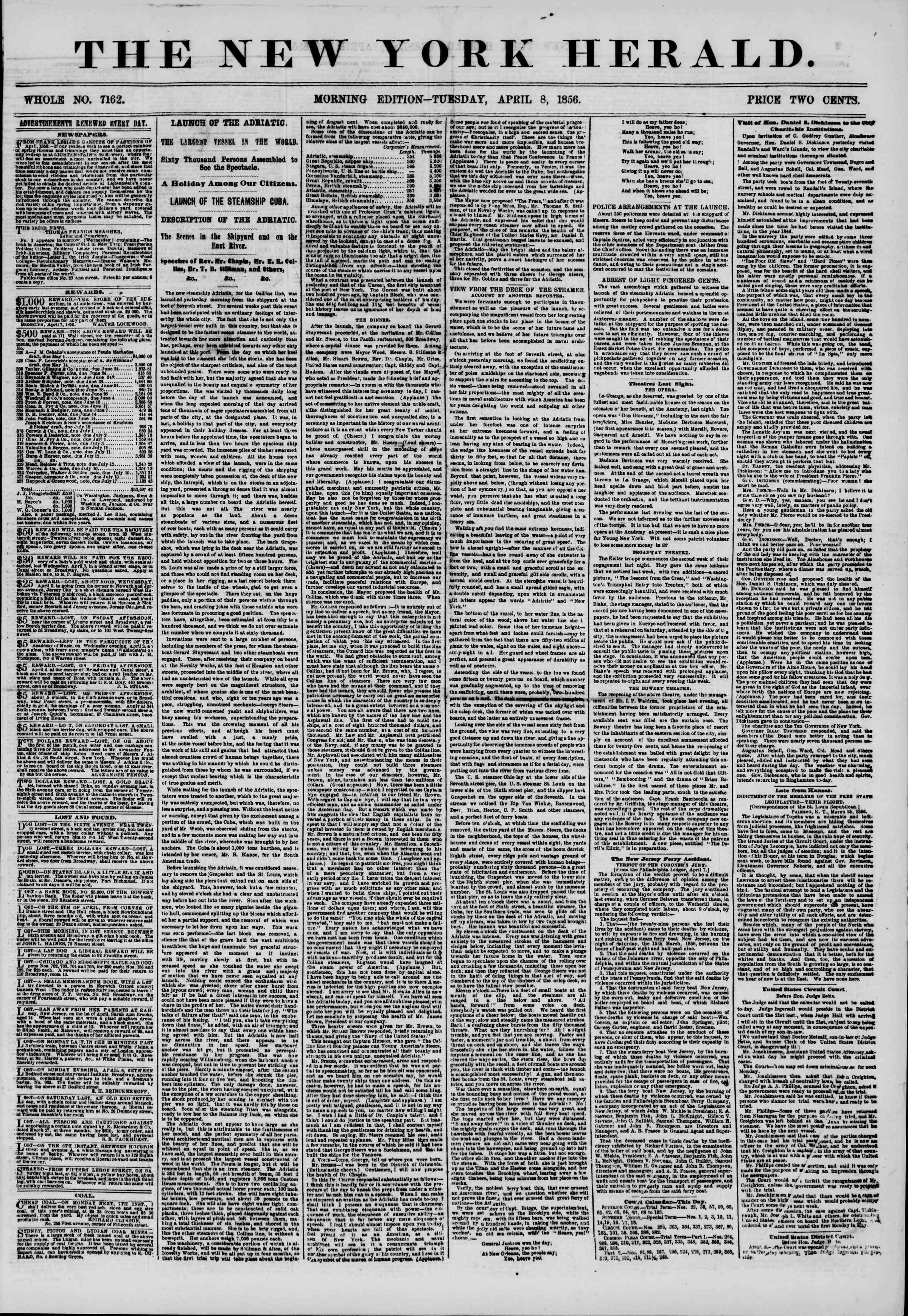 Newspaper of The New York Herald dated April 8, 1856 Page 1