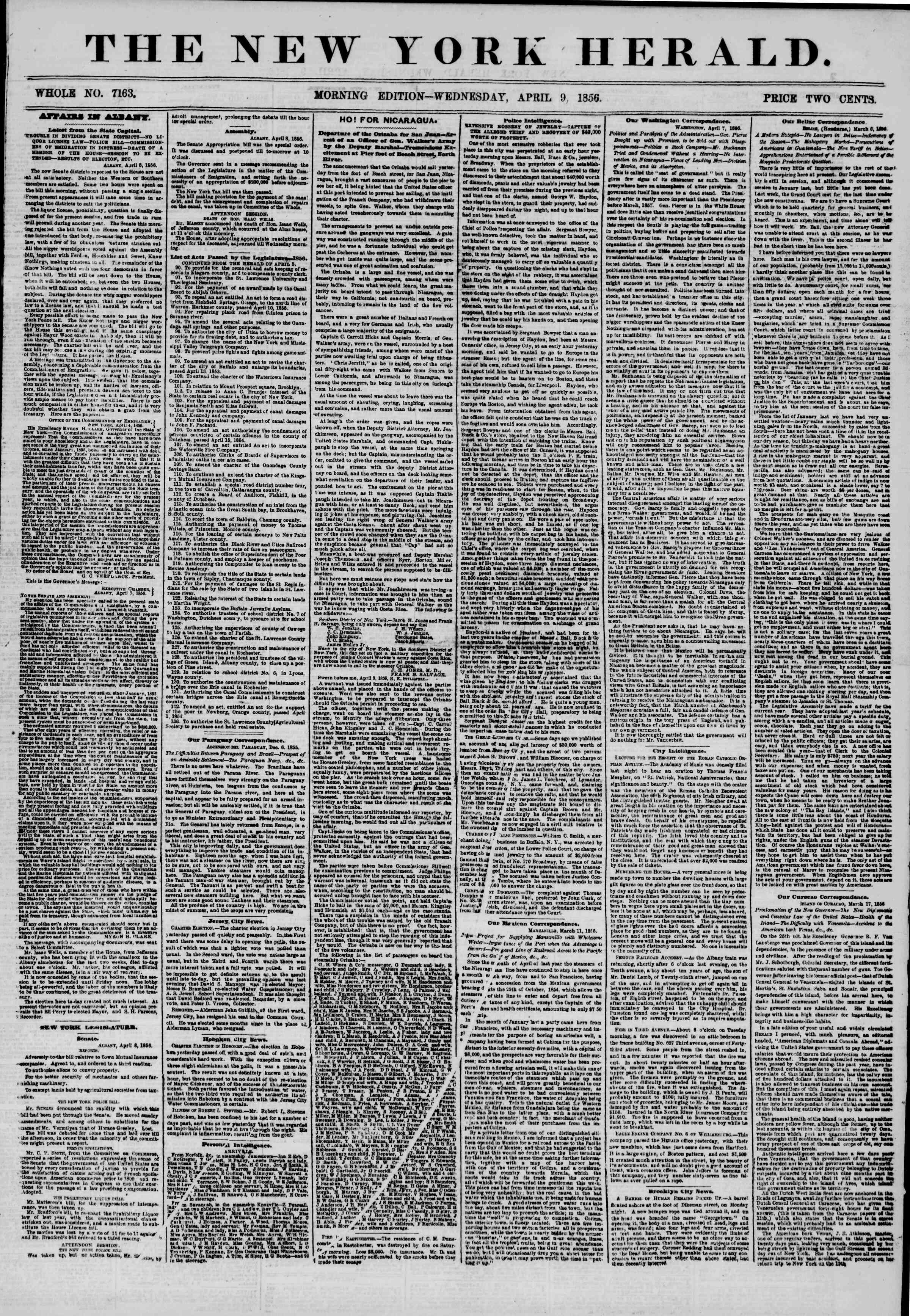 Newspaper of The New York Herald dated April 9, 1856 Page 1