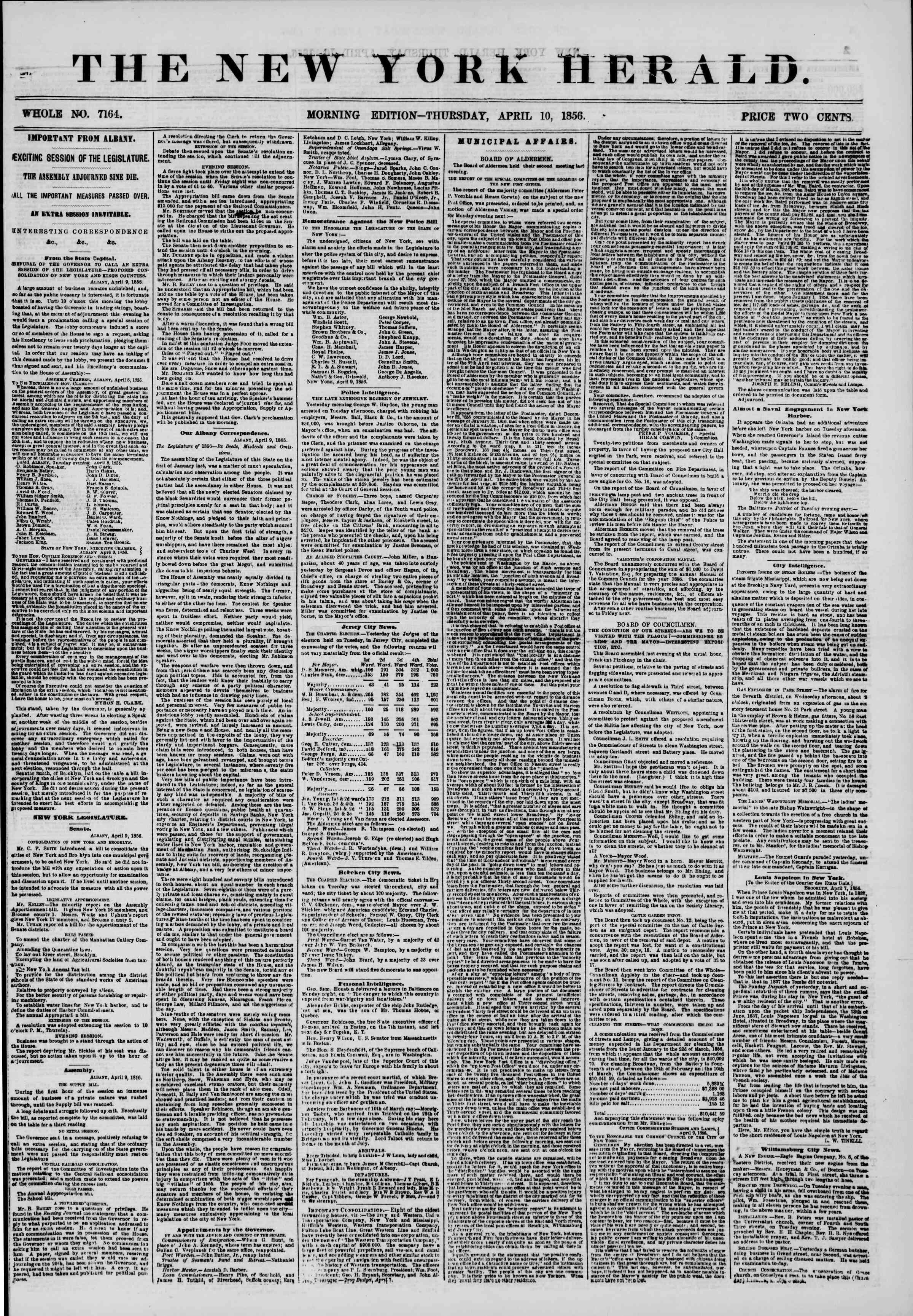 Newspaper of The New York Herald dated April 10, 1856 Page 1
