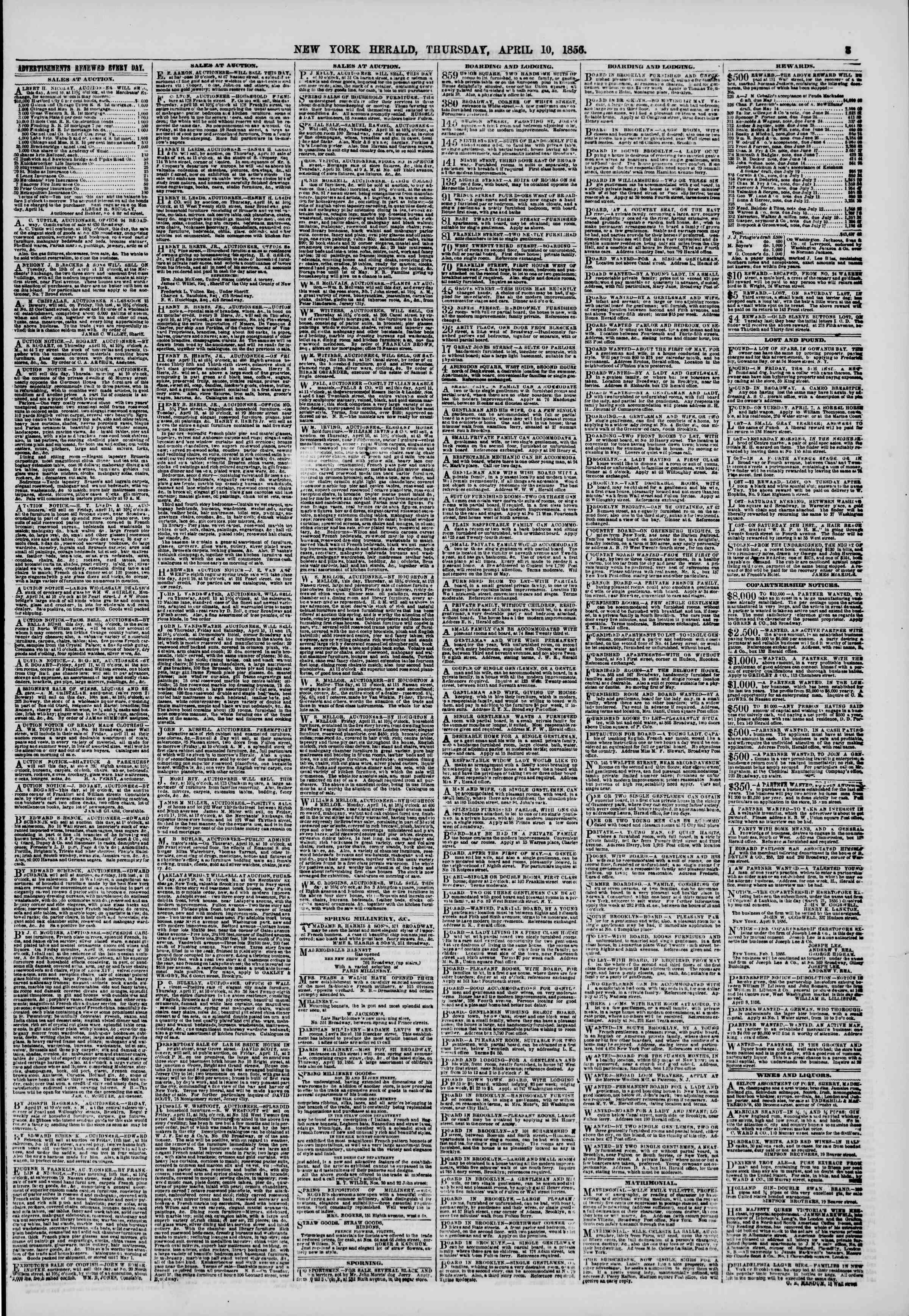 Newspaper of The New York Herald dated 10 Nisan 1856 Page 3