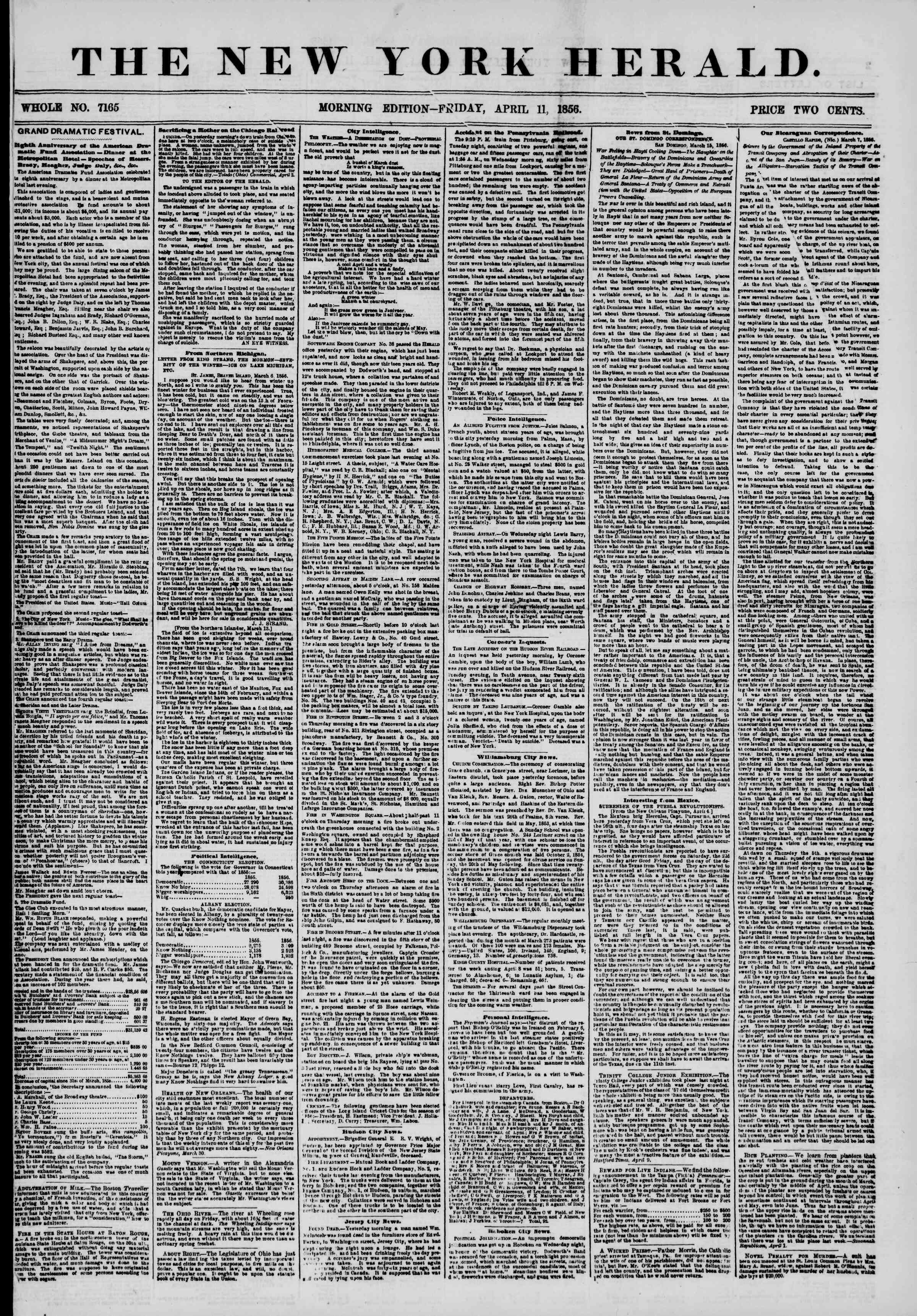 11 Nisan 1856 tarihli The New York Herald Gazetesi Sayfa 1