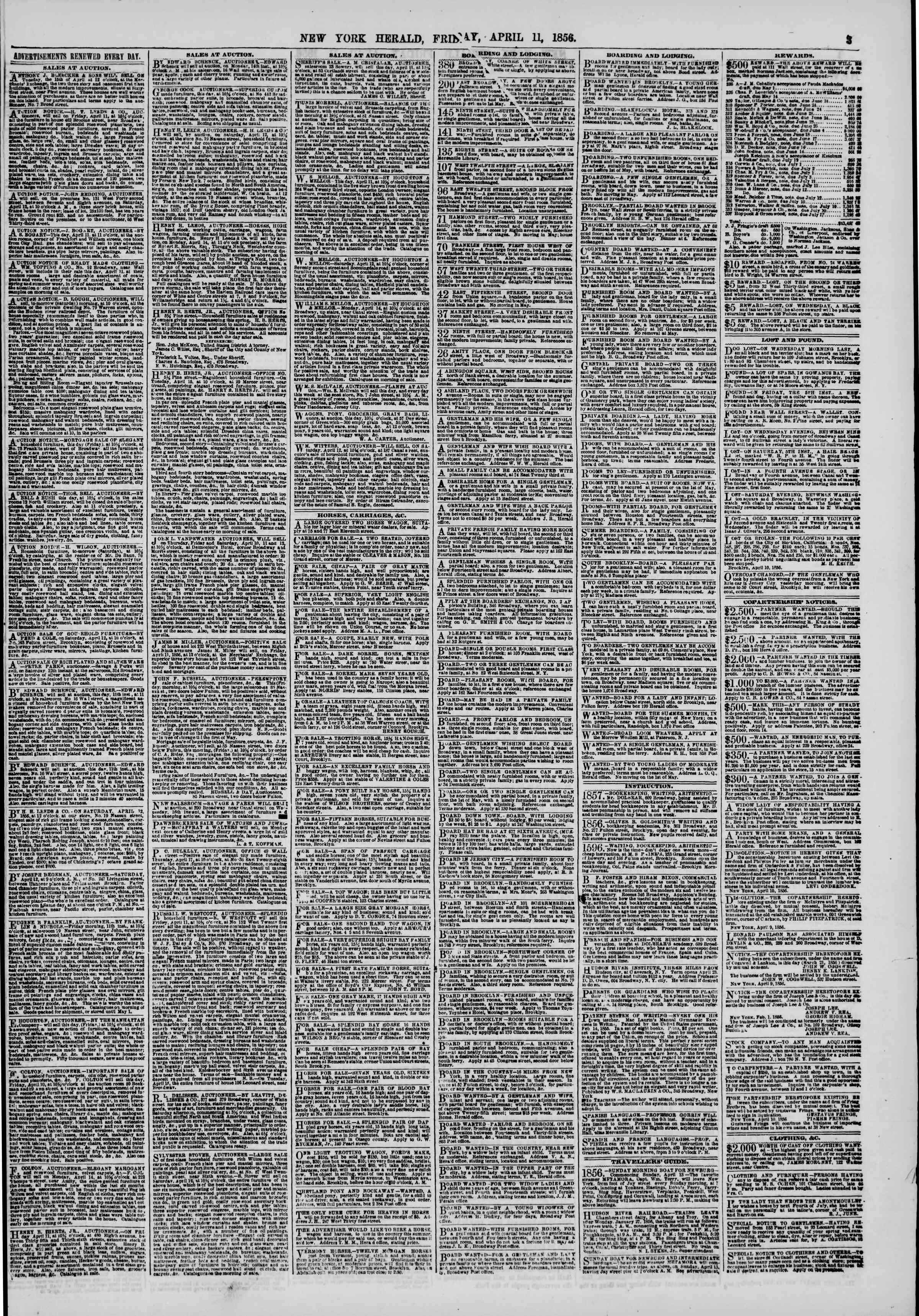 Newspaper of The New York Herald dated April 11, 1856 Page 3