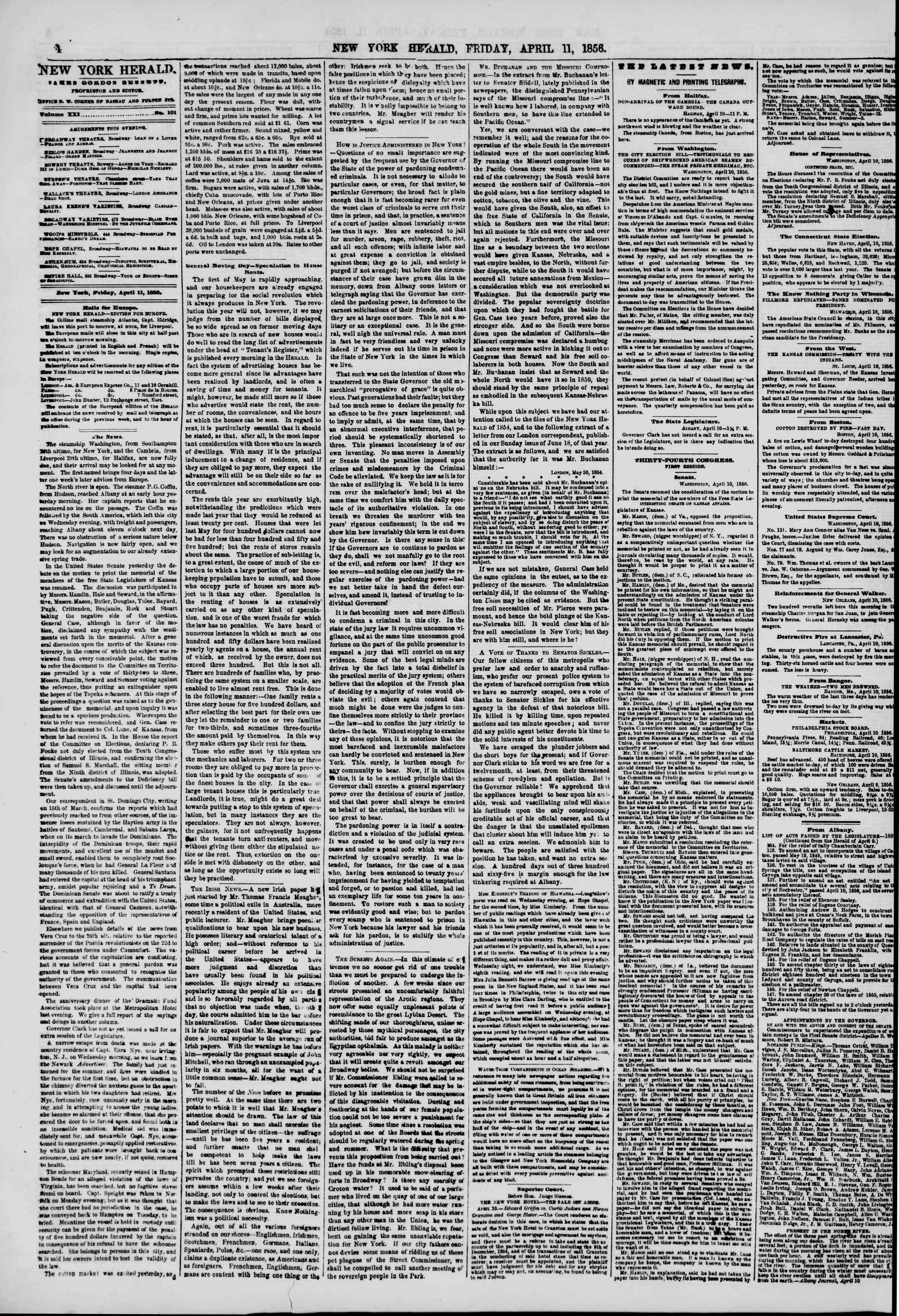 Newspaper of The New York Herald dated 11 Nisan 1856 Page 4