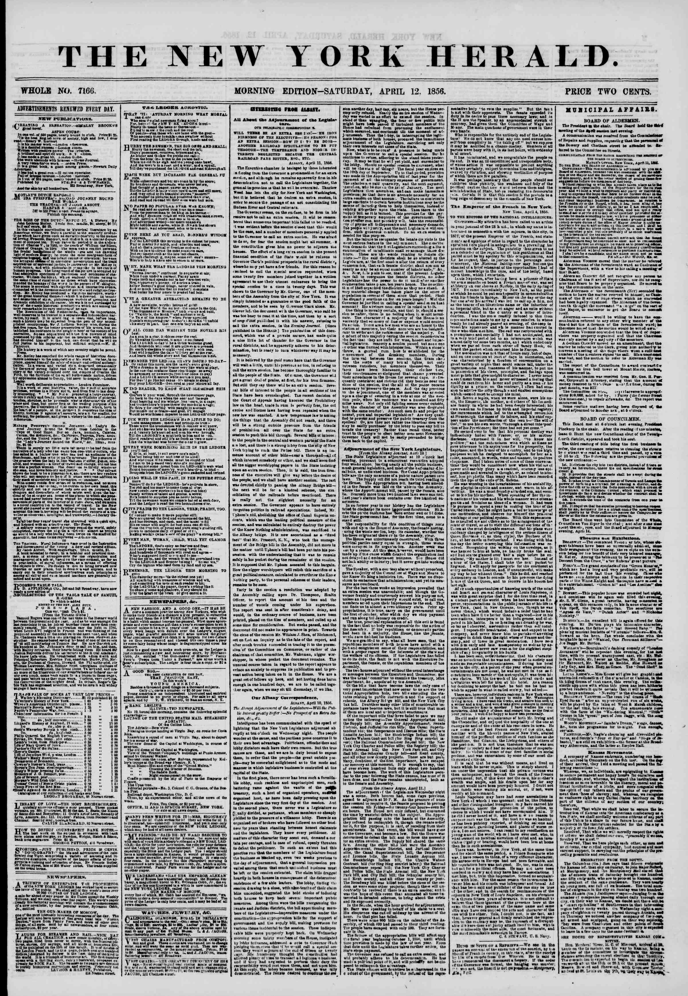 Newspaper of The New York Herald dated April 12, 1856 Page 1
