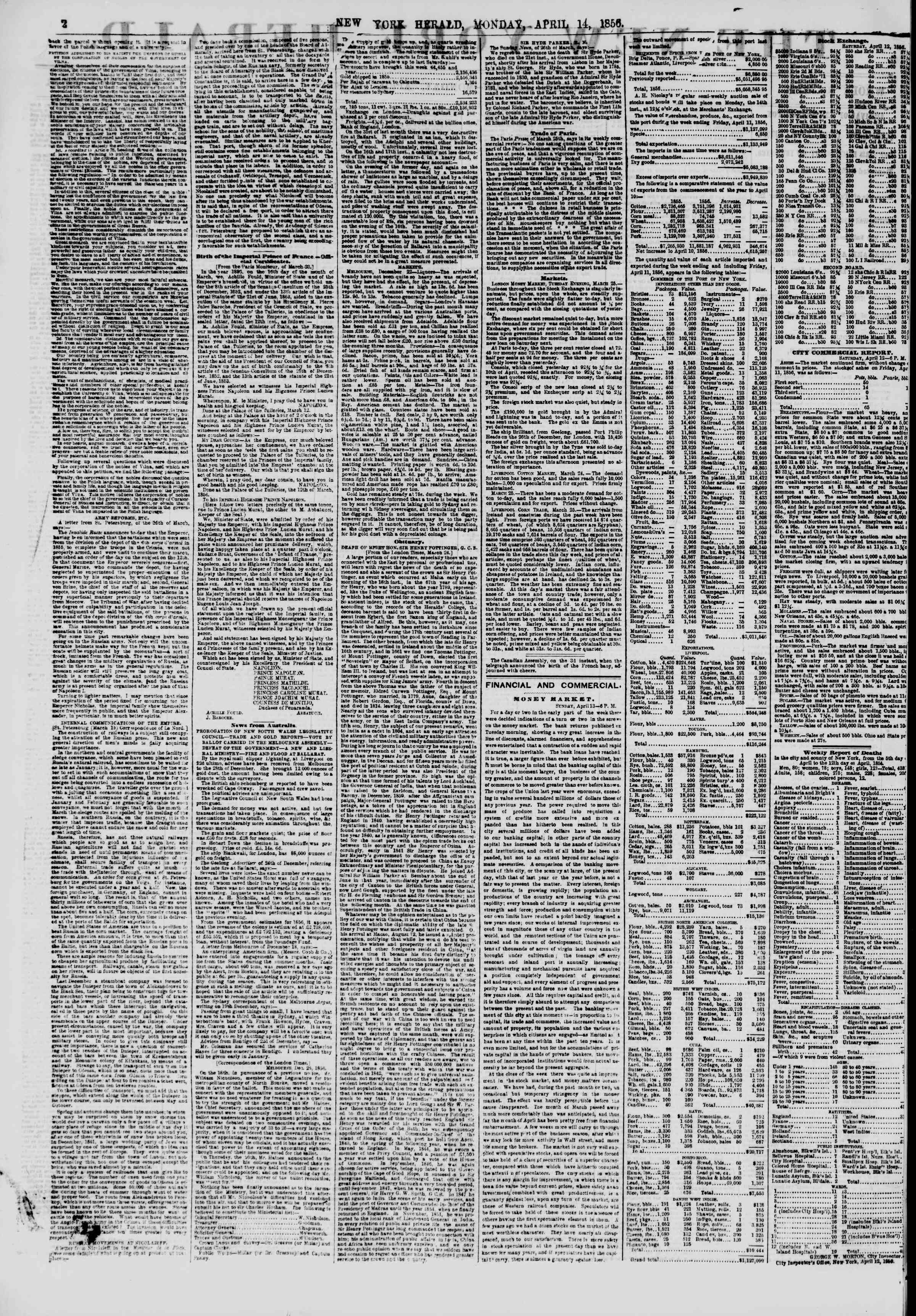 Newspaper of The New York Herald dated April 14, 1856 Page 2