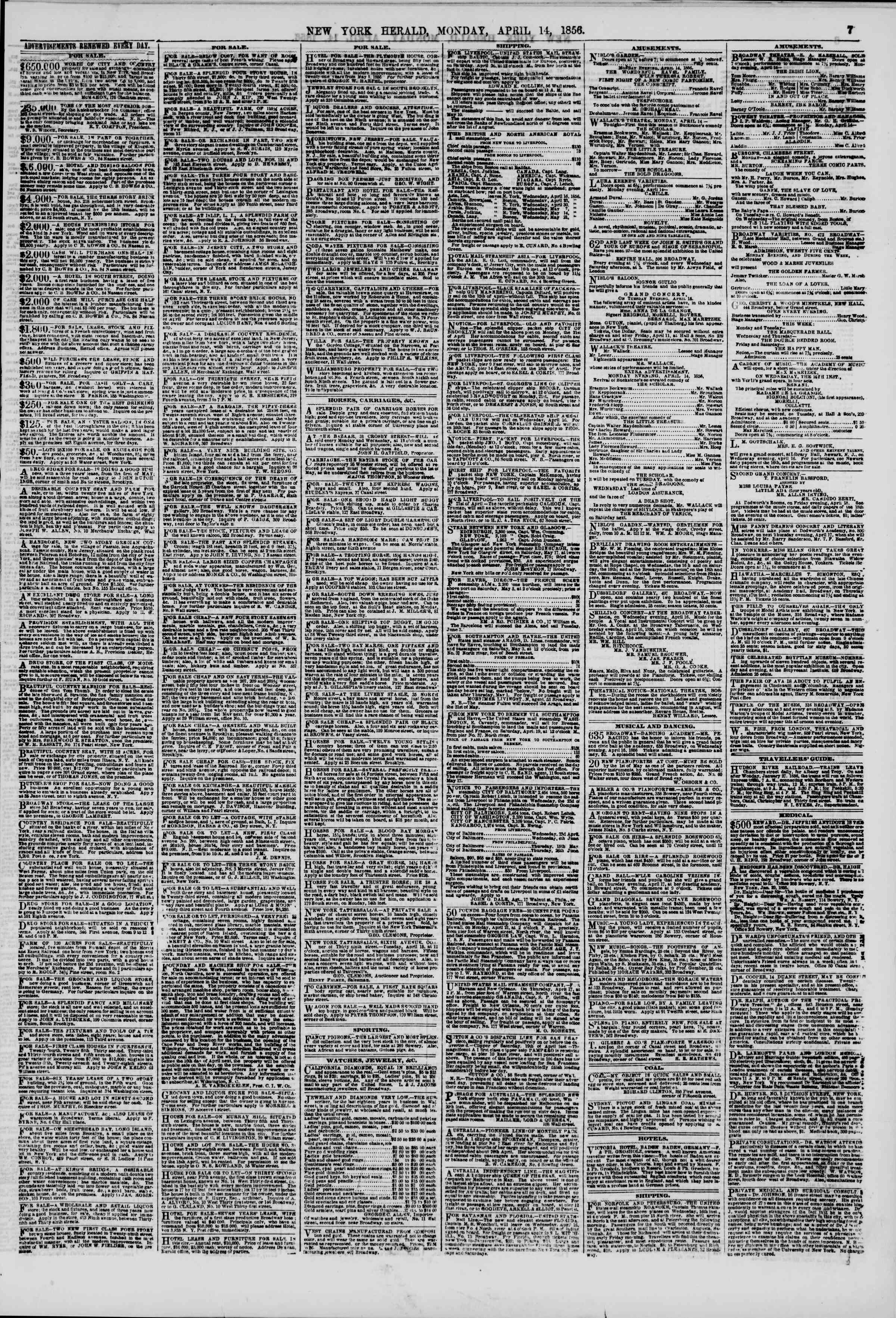 Newspaper of The New York Herald dated April 14, 1856 Page 7