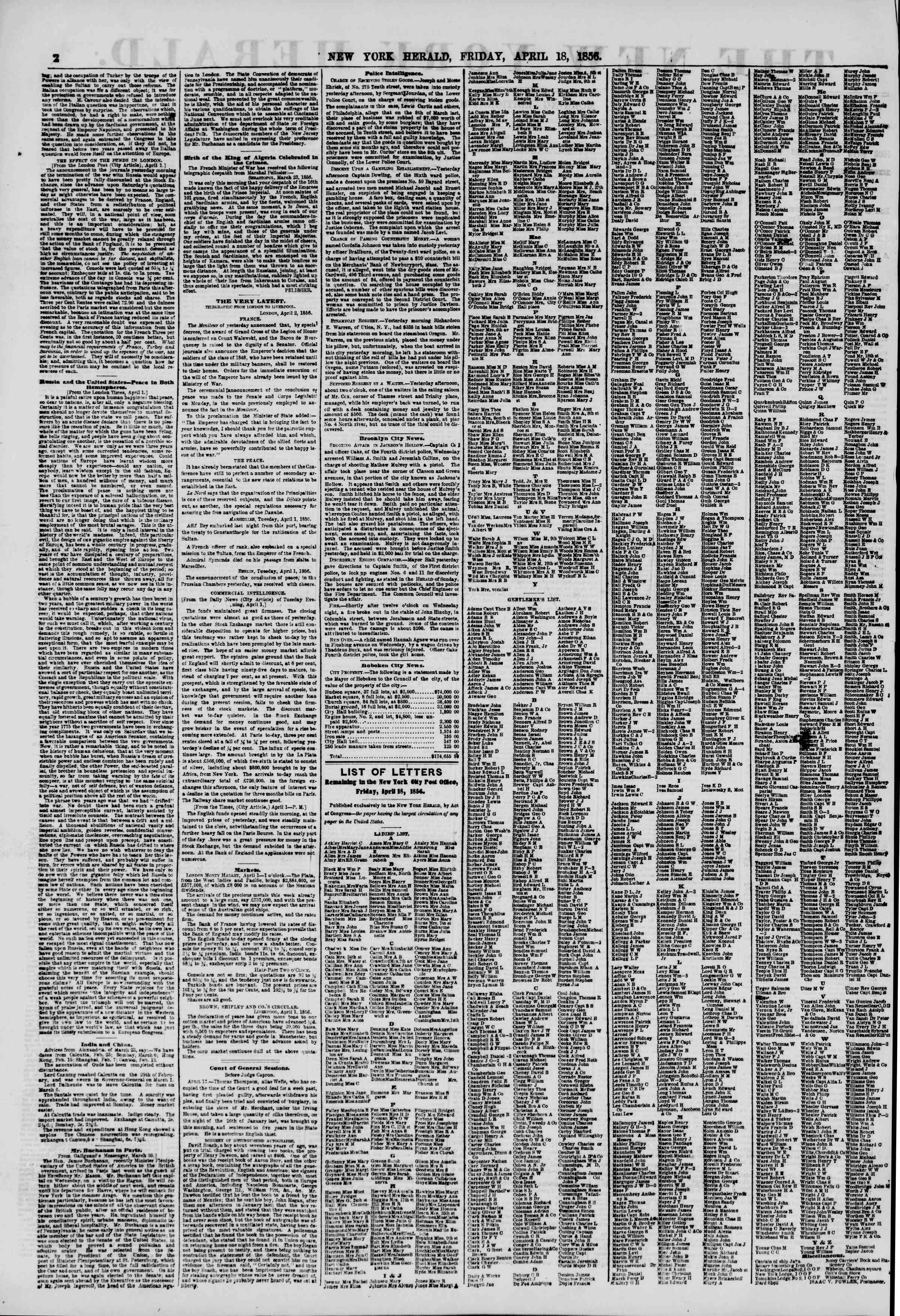Newspaper of The New York Herald dated April 18, 1856 Page 2