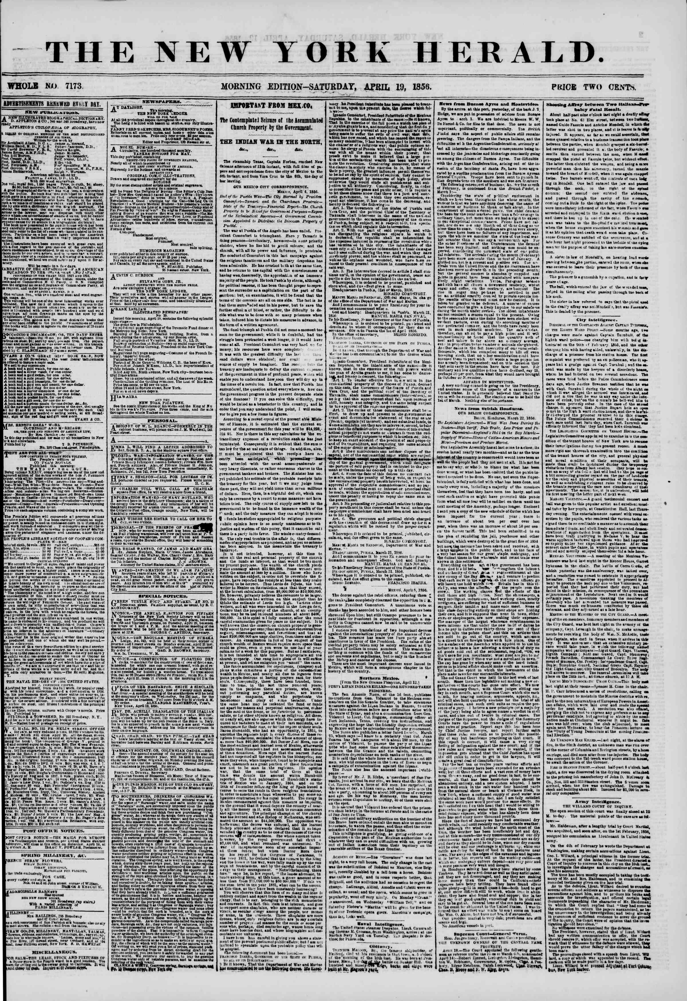 Newspaper of The New York Herald dated April 19, 1856 Page 1