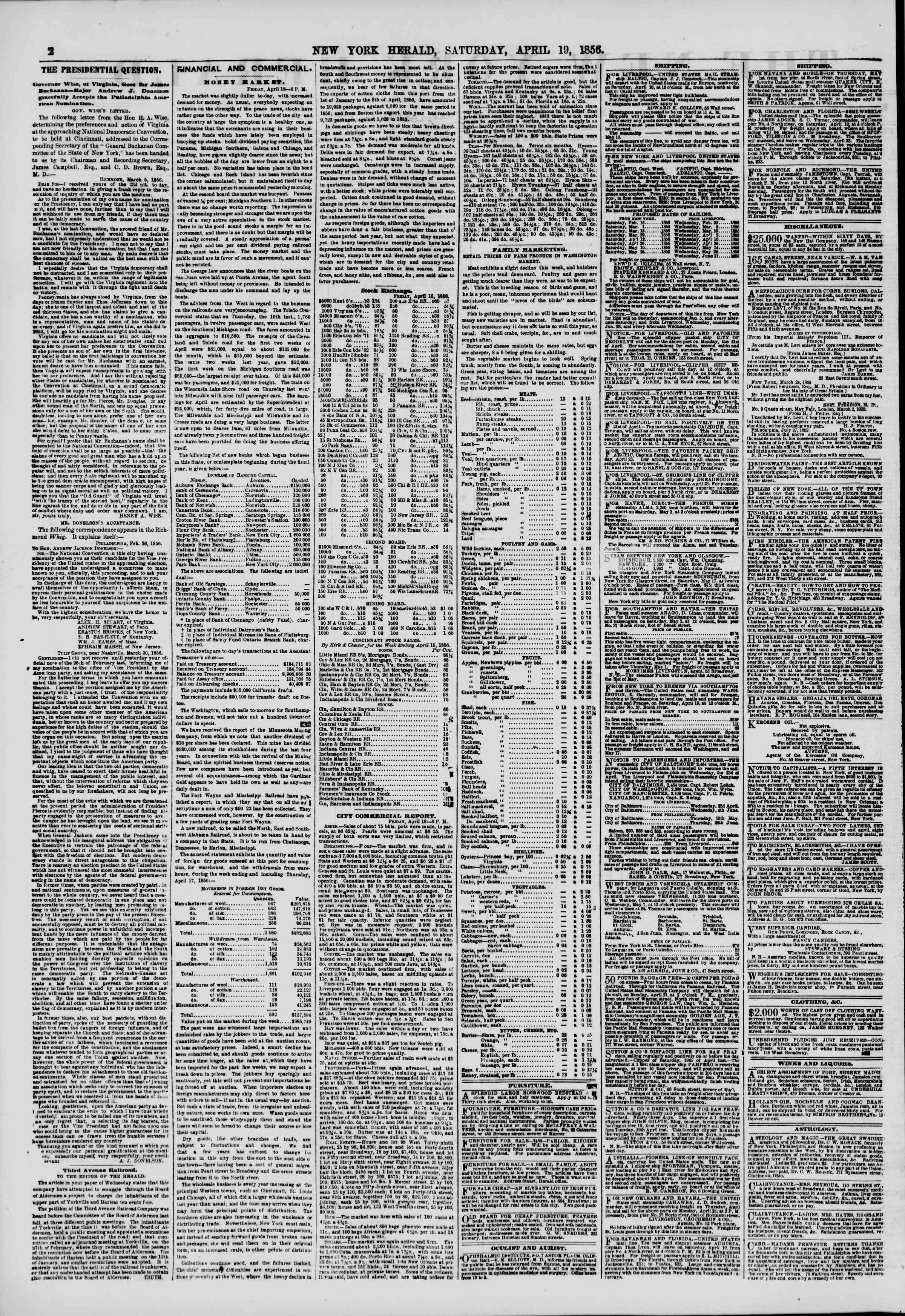 19 Nisan 1856 tarihli The New York Herald Gazetesi Sayfa 2