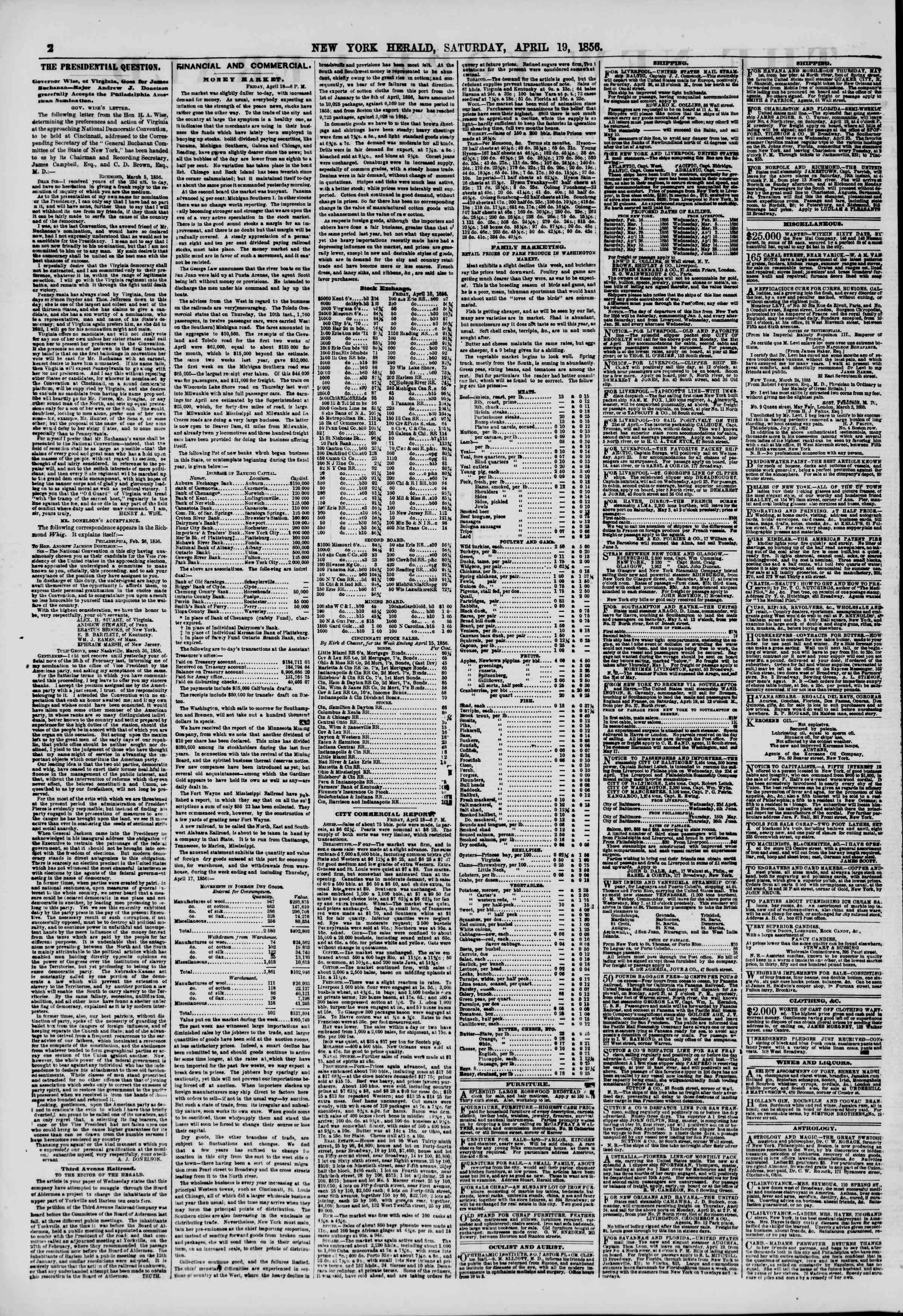 Newspaper of The New York Herald dated April 19, 1856 Page 4