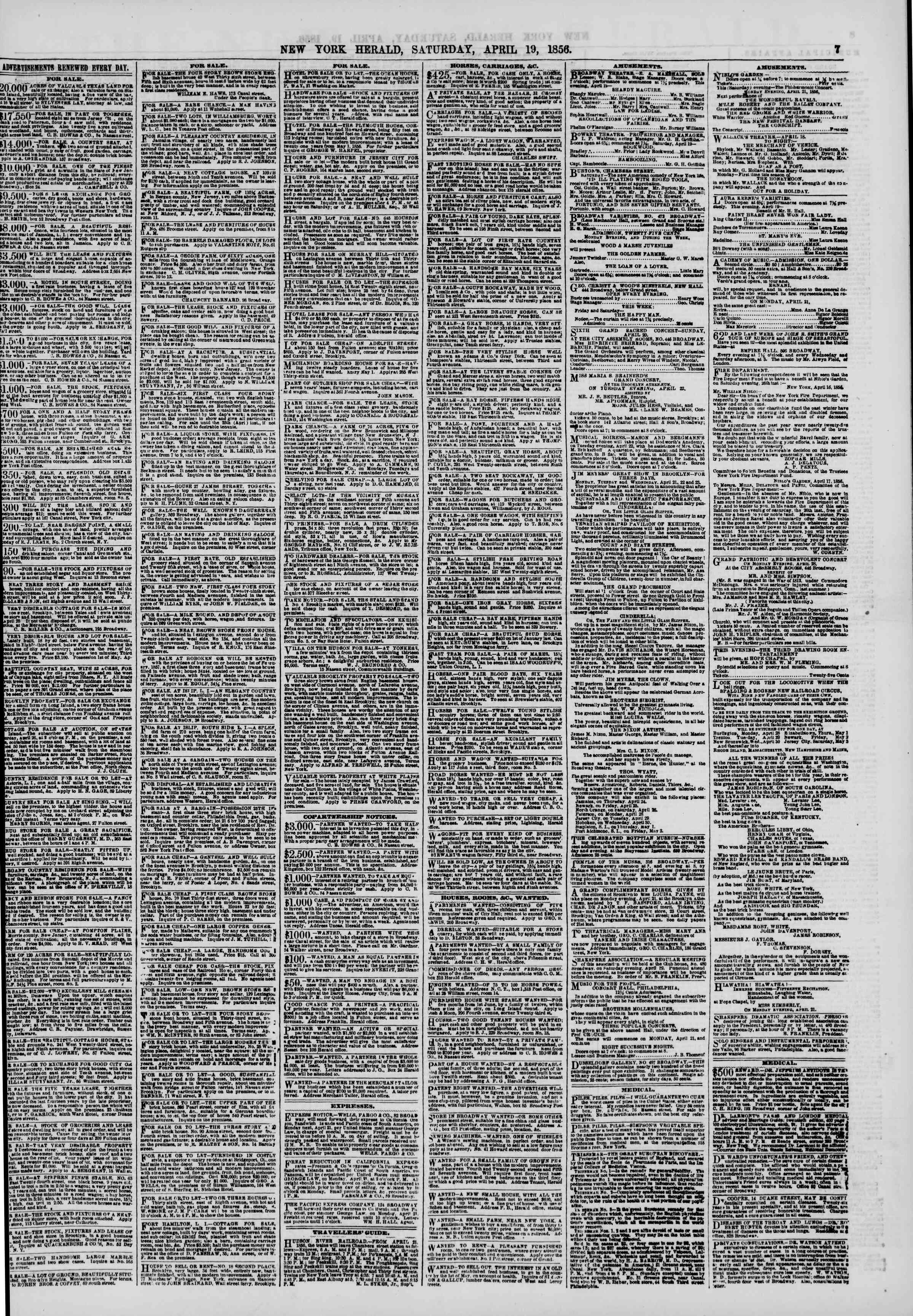 Newspaper of The New York Herald dated April 19, 1856 Page 9