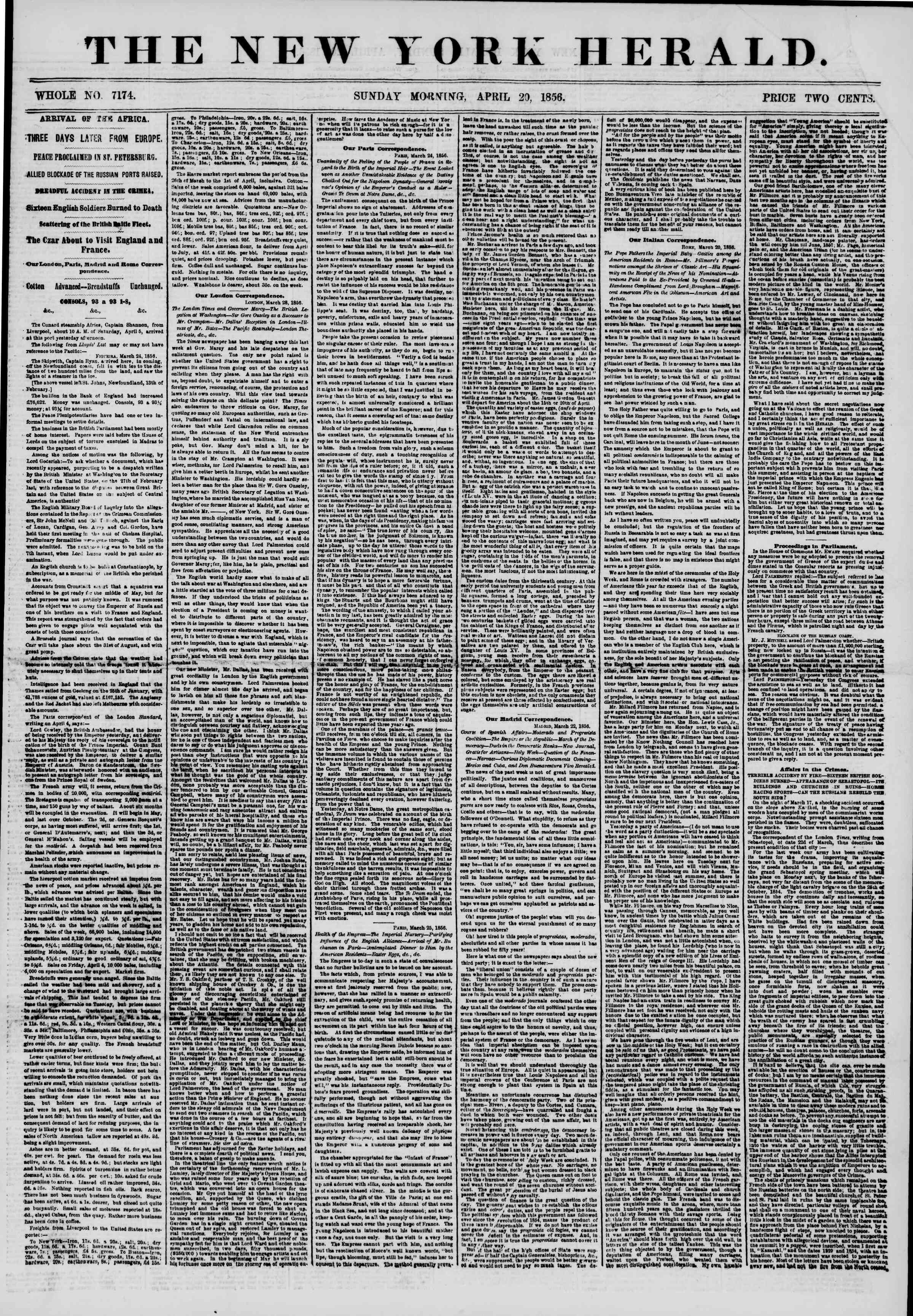 Newspaper of The New York Herald dated April 20, 1856 Page 1