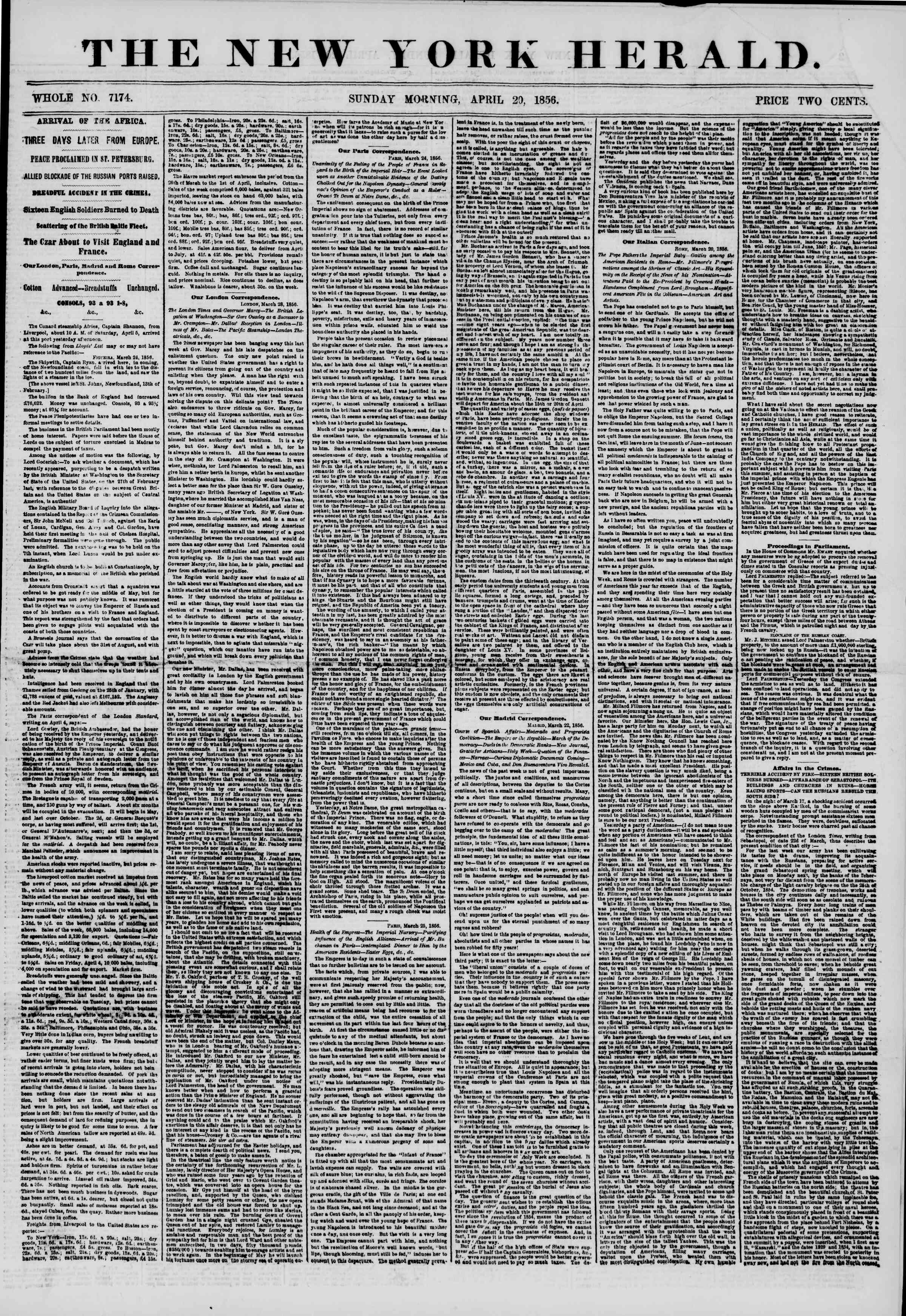 Newspaper of The New York Herald dated April 20, 1856 Page 2