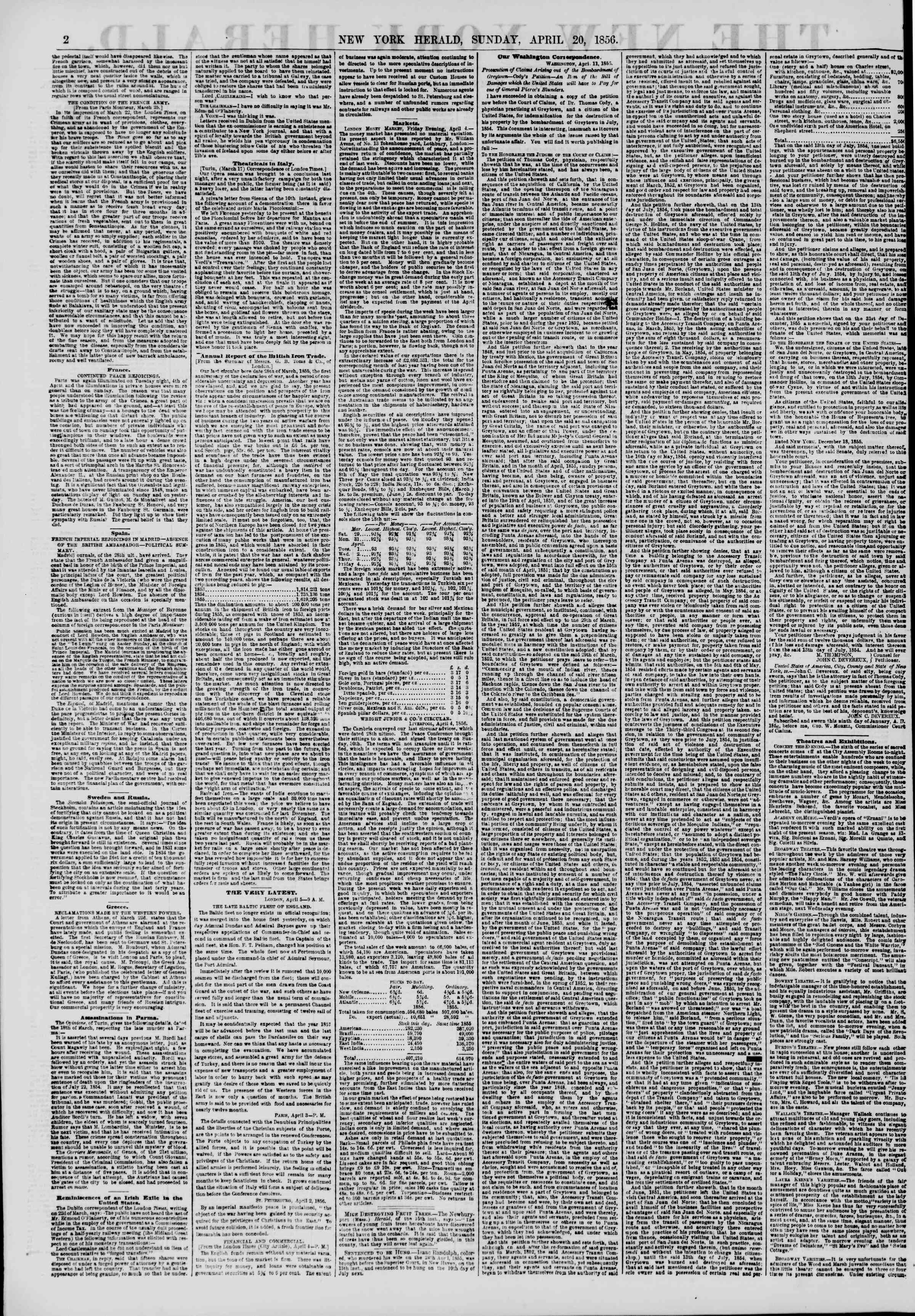Newspaper of The New York Herald dated April 20, 1856 Page 3