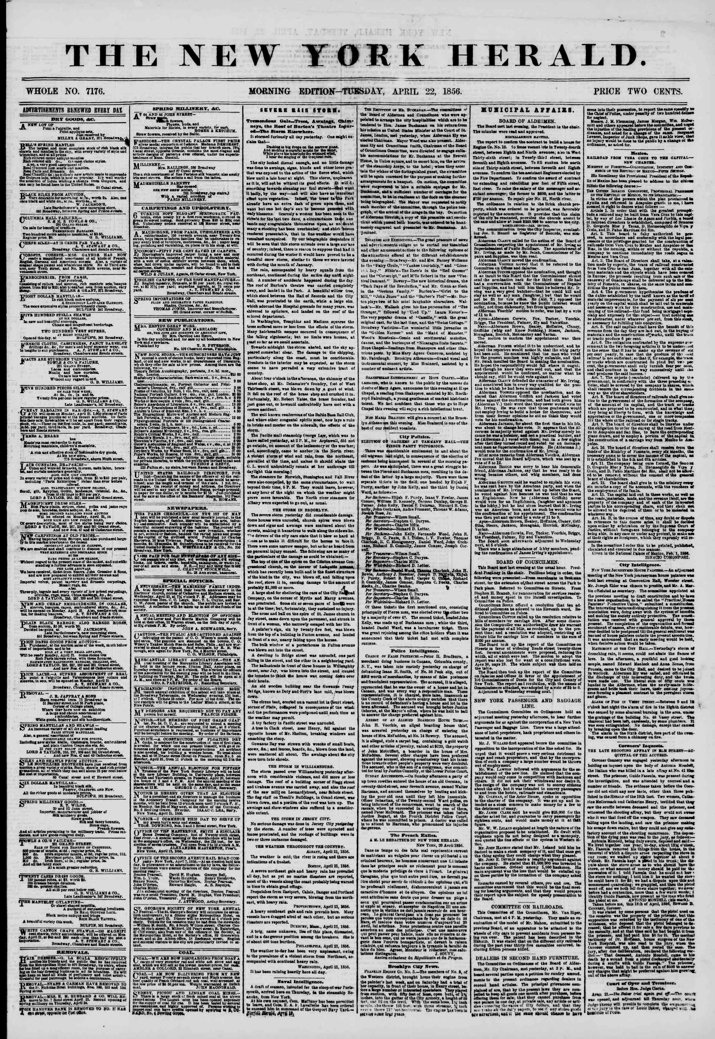 Newspaper of The New York Herald dated April 22, 1856 Page 1