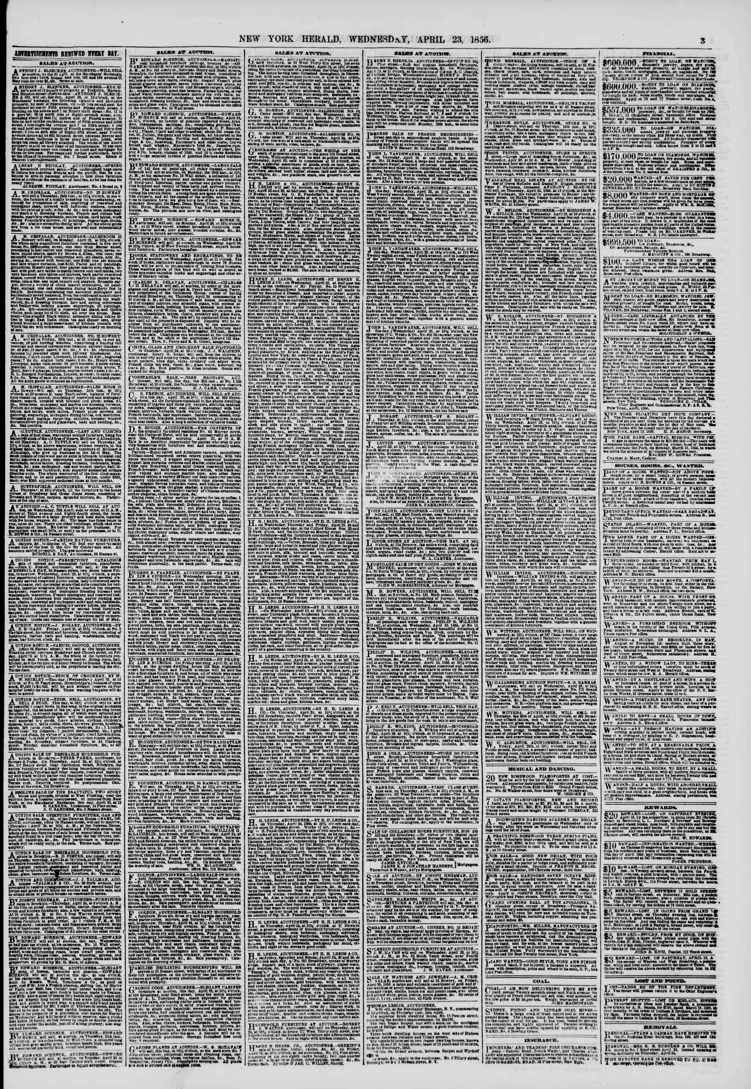 Newspaper of The New York Herald dated April 23, 1856 Page 3