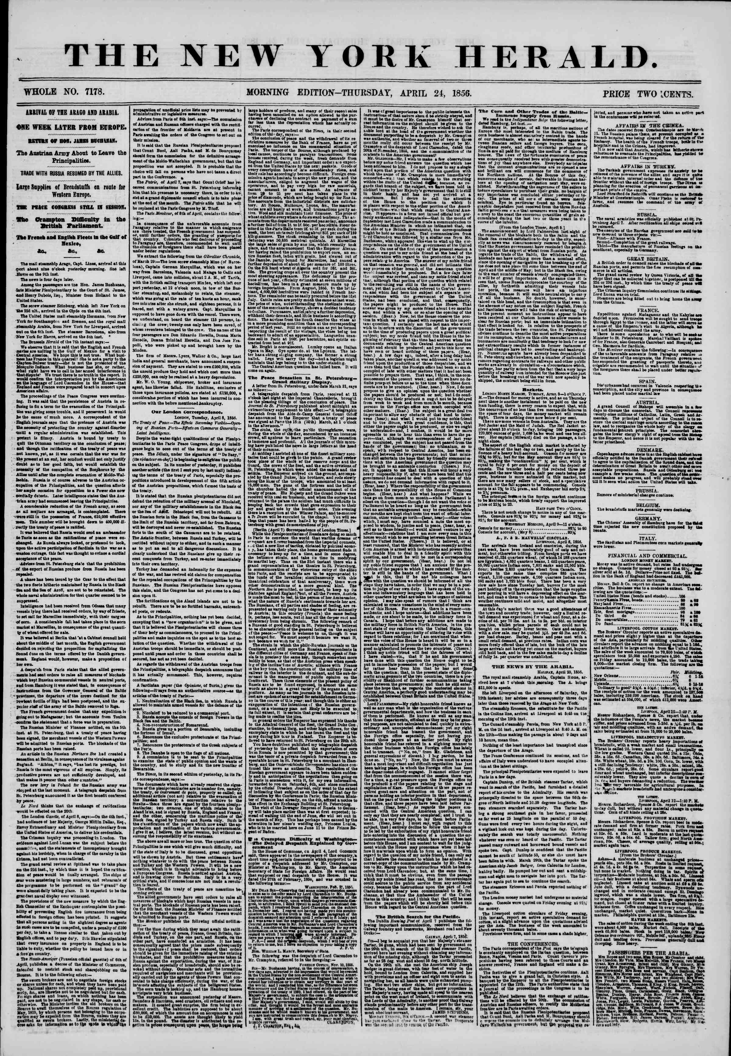 Newspaper of The New York Herald dated April 24, 1856 Page 1