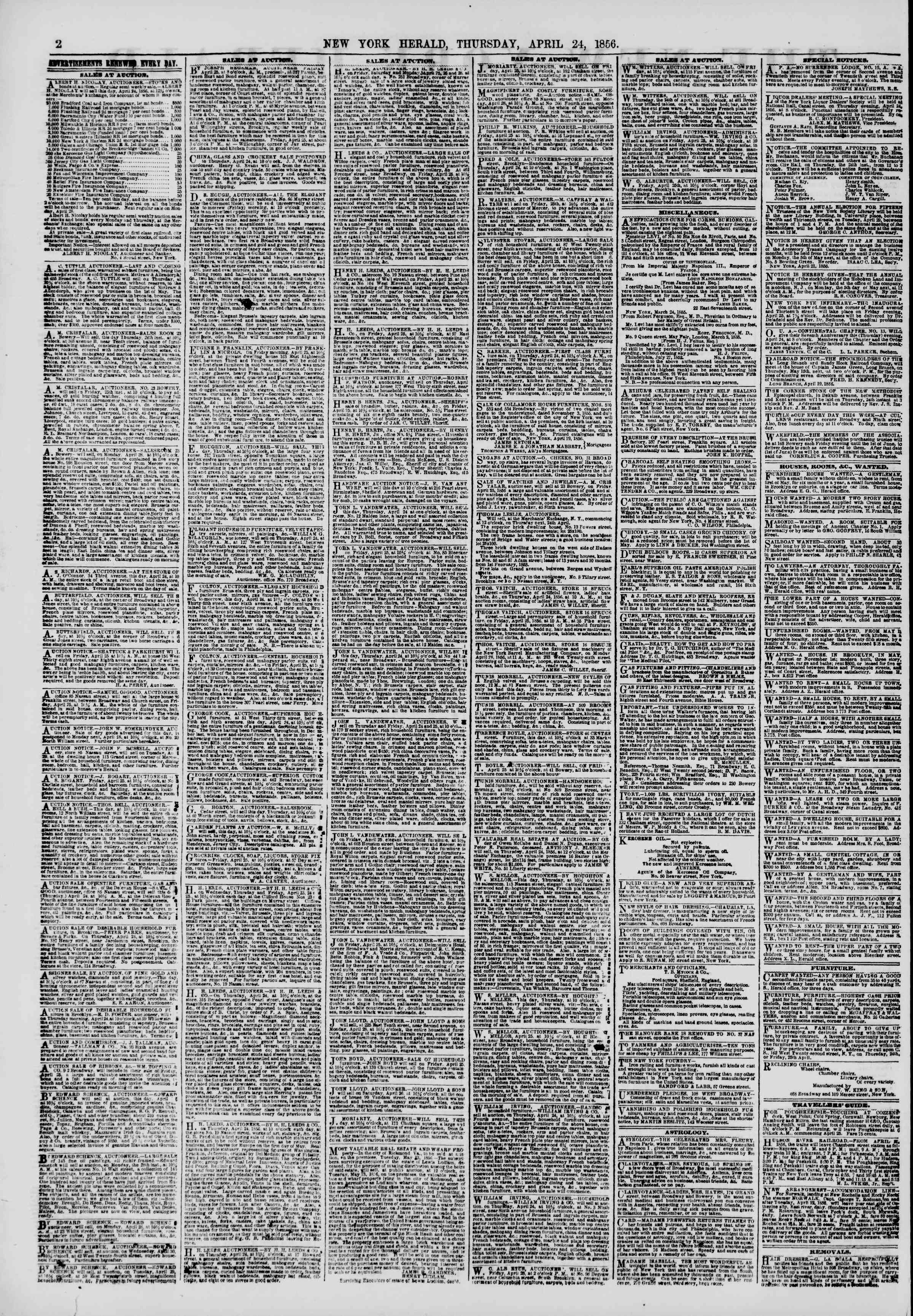 Newspaper of The New York Herald dated April 24, 1856 Page 2