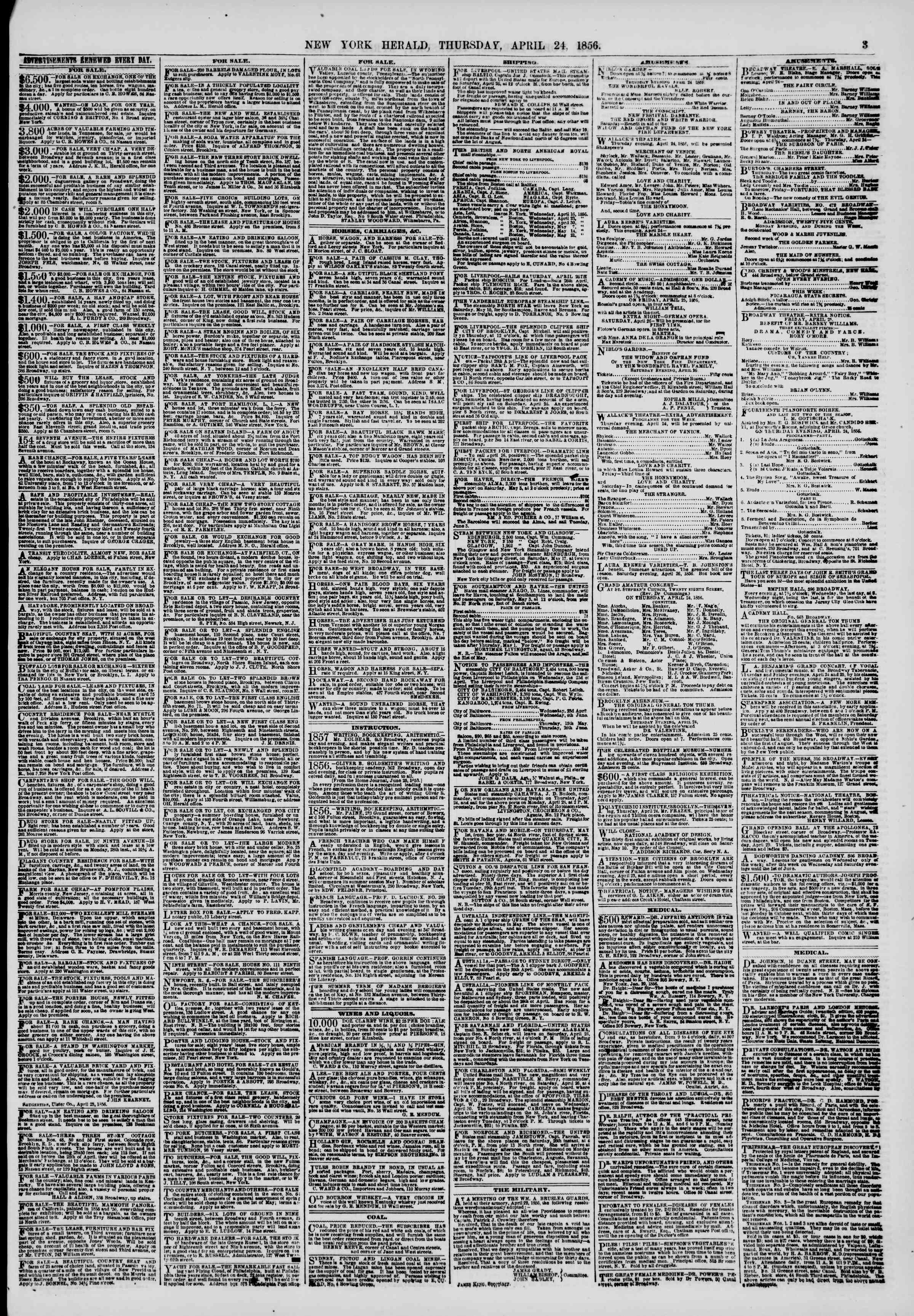 Newspaper of The New York Herald dated April 24, 1856 Page 3