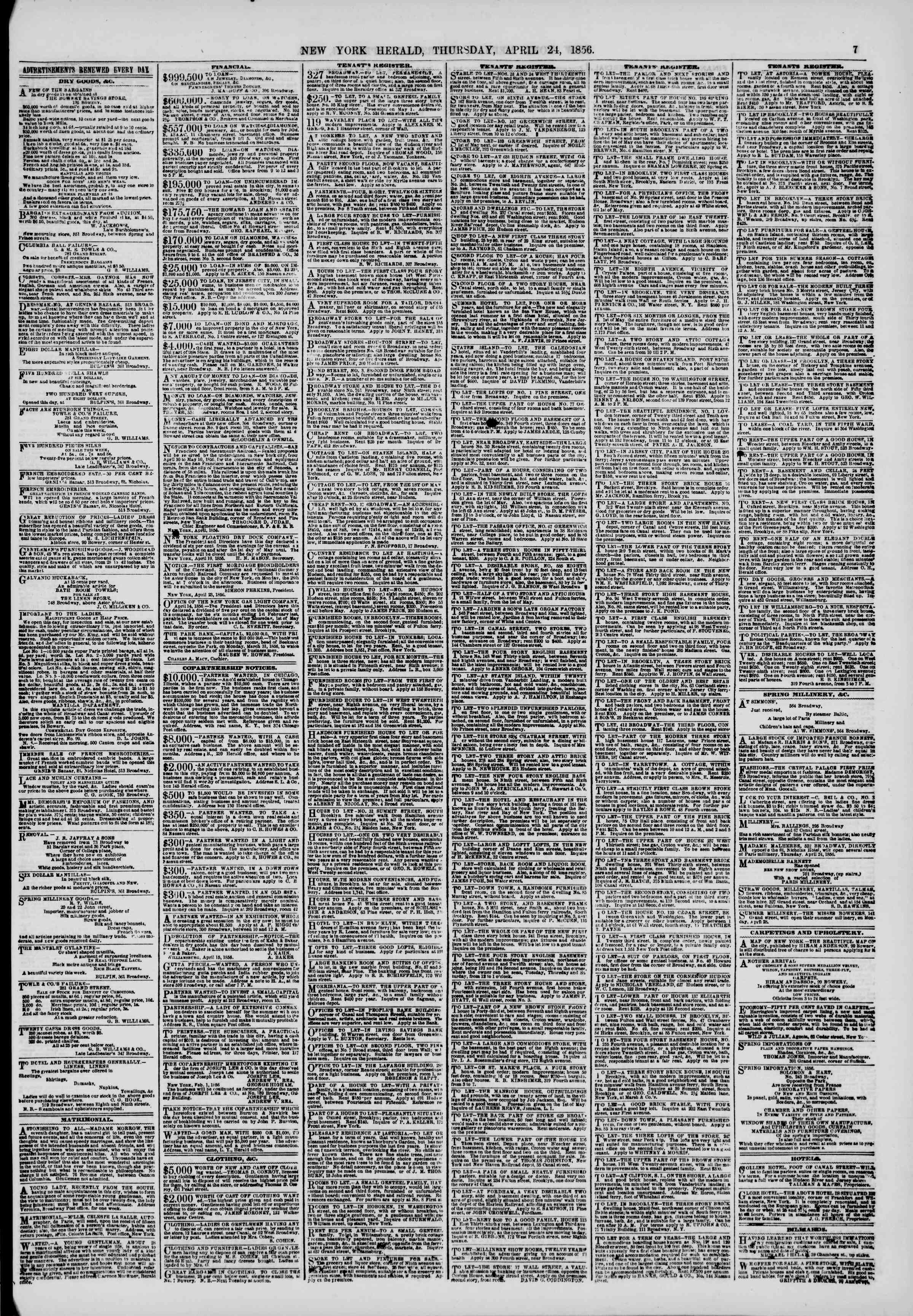 Newspaper of The New York Herald dated April 24, 1856 Page 7