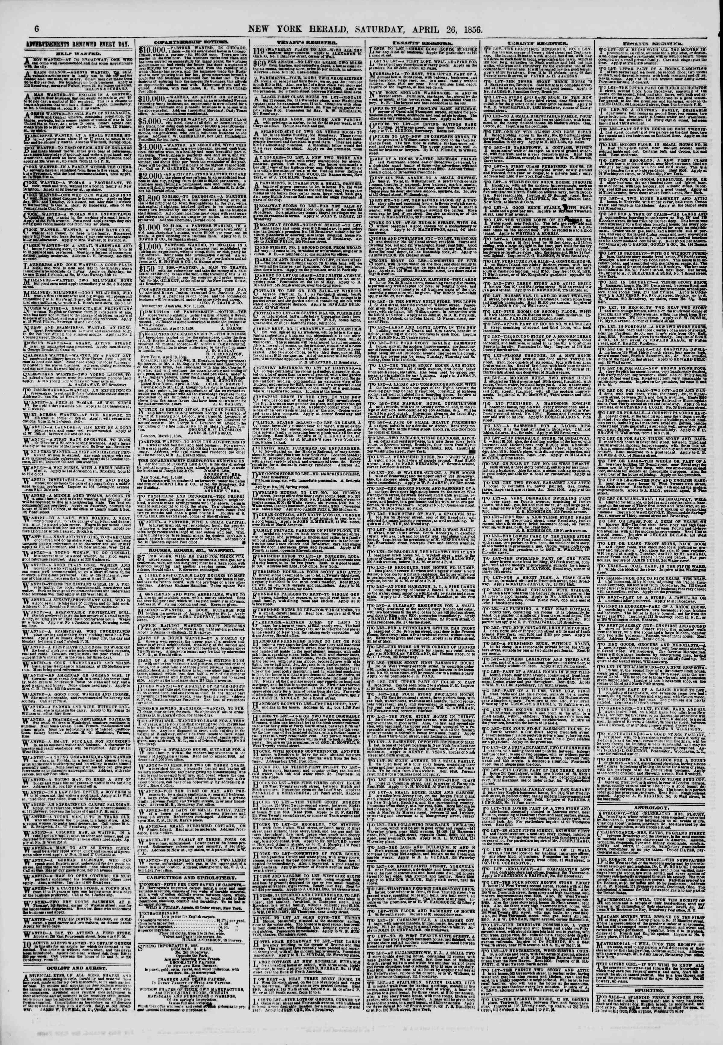Newspaper of The New York Herald dated April 26, 1856 Page 6