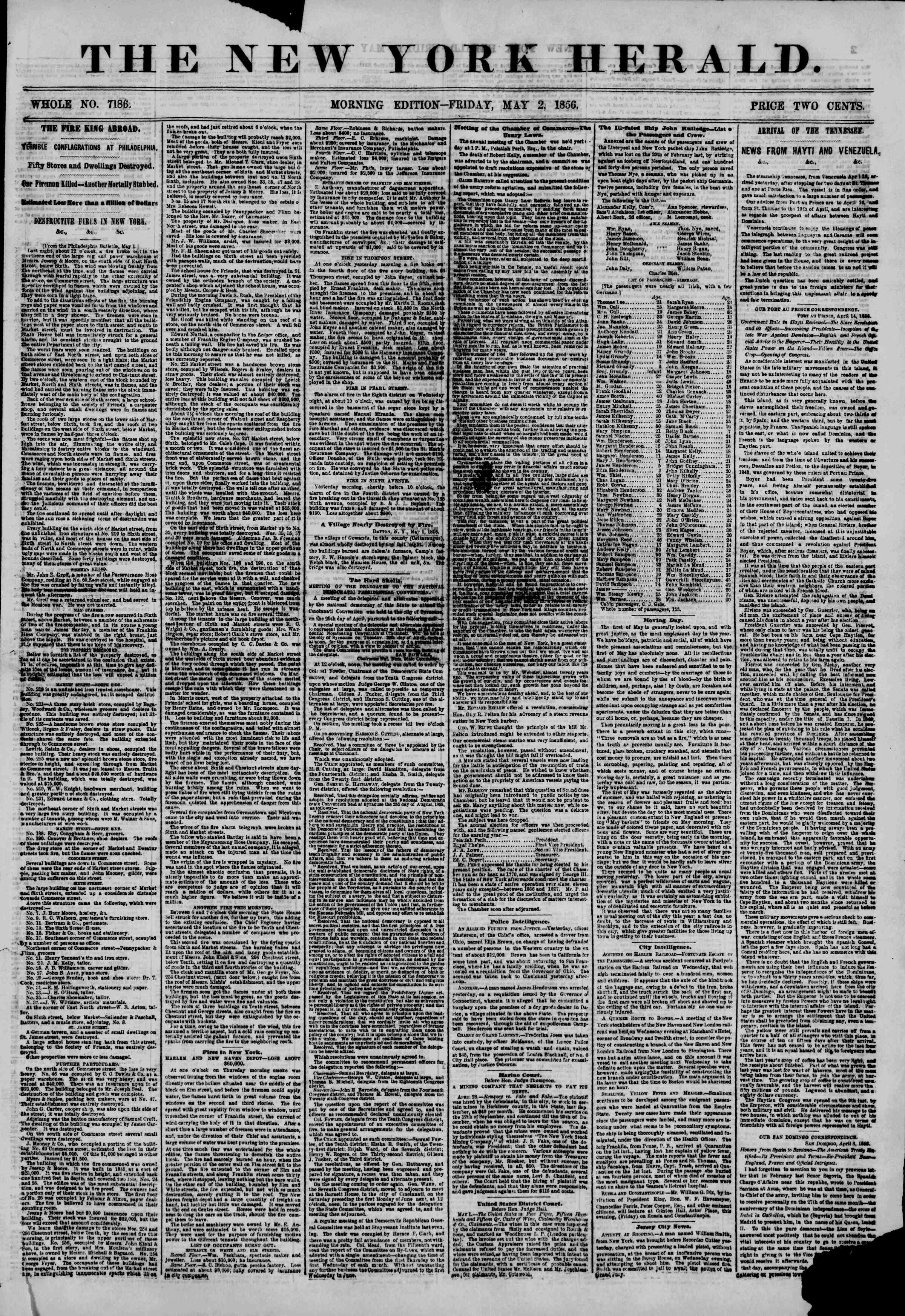 Newspaper of The New York Herald dated May 2, 1856 Page 1