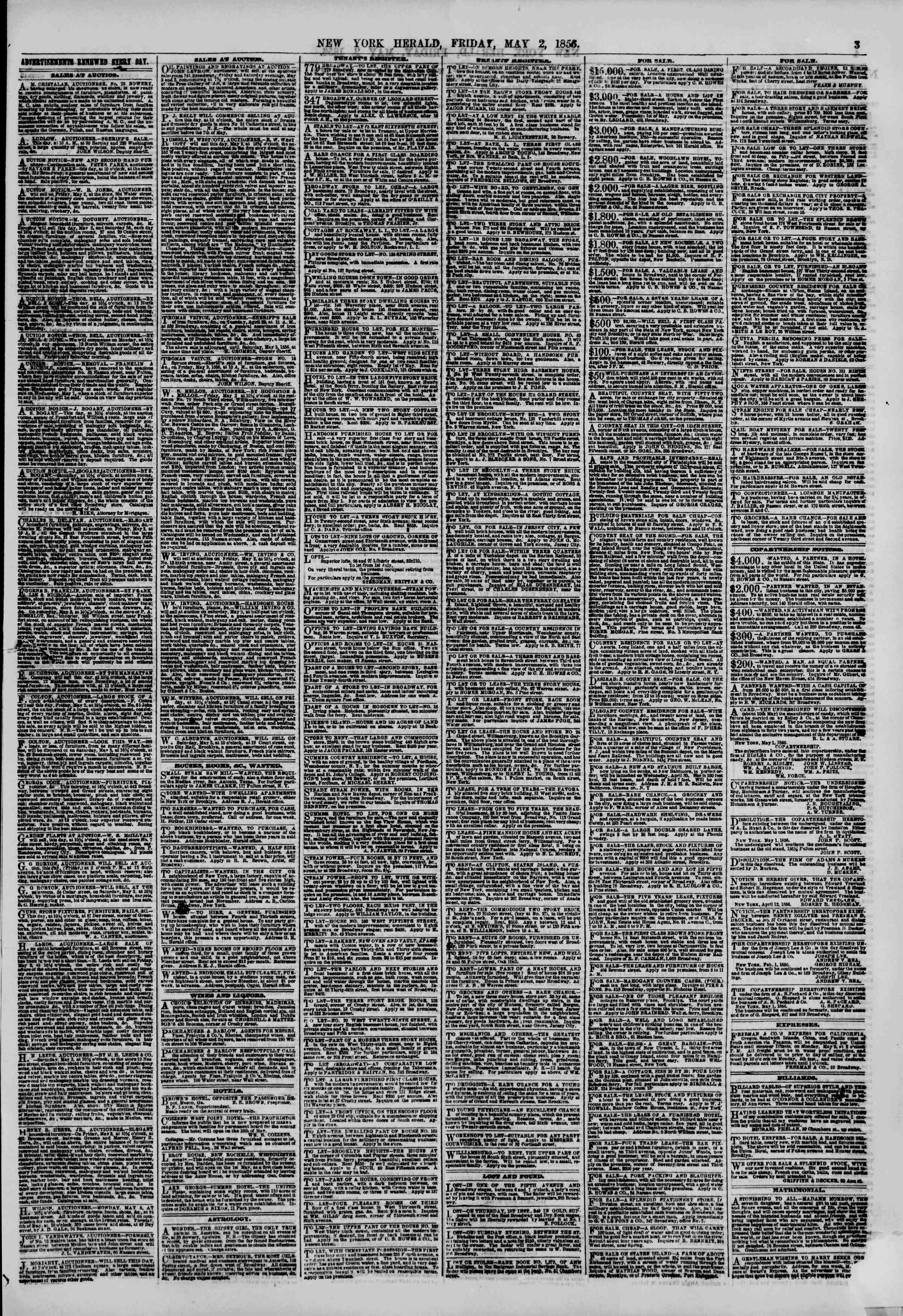 Newspaper of The New York Herald dated May 2, 1856 Page 3