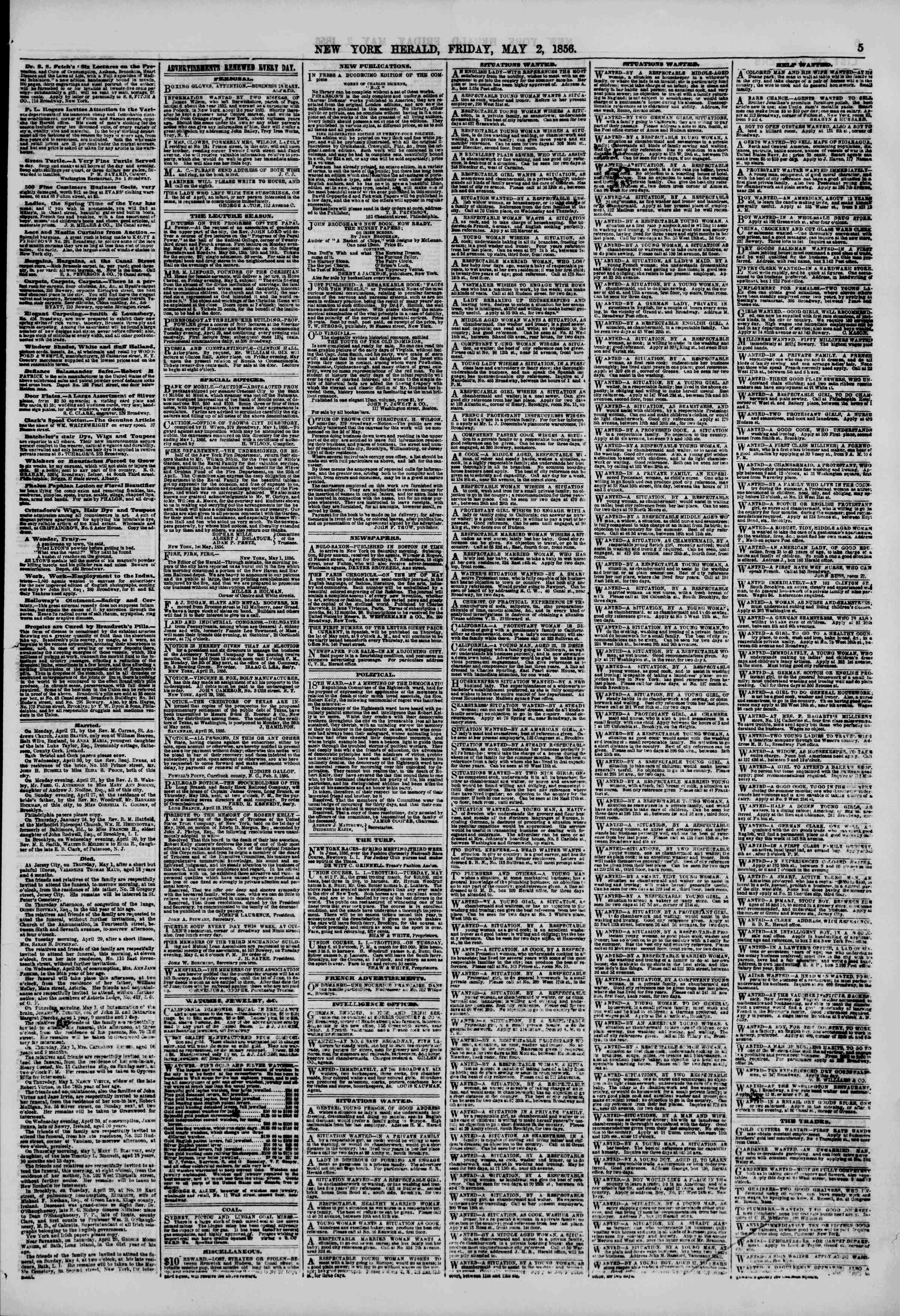 Newspaper of The New York Herald dated May 2, 1856 Page 5