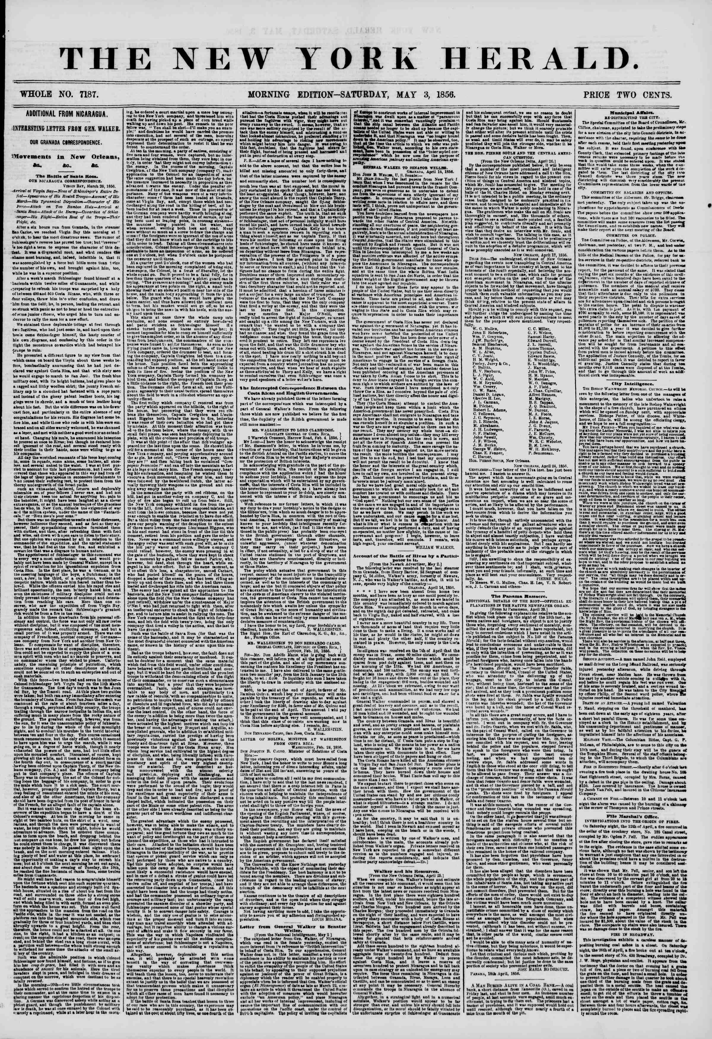 Newspaper of The New York Herald dated May 3, 1856 Page 1