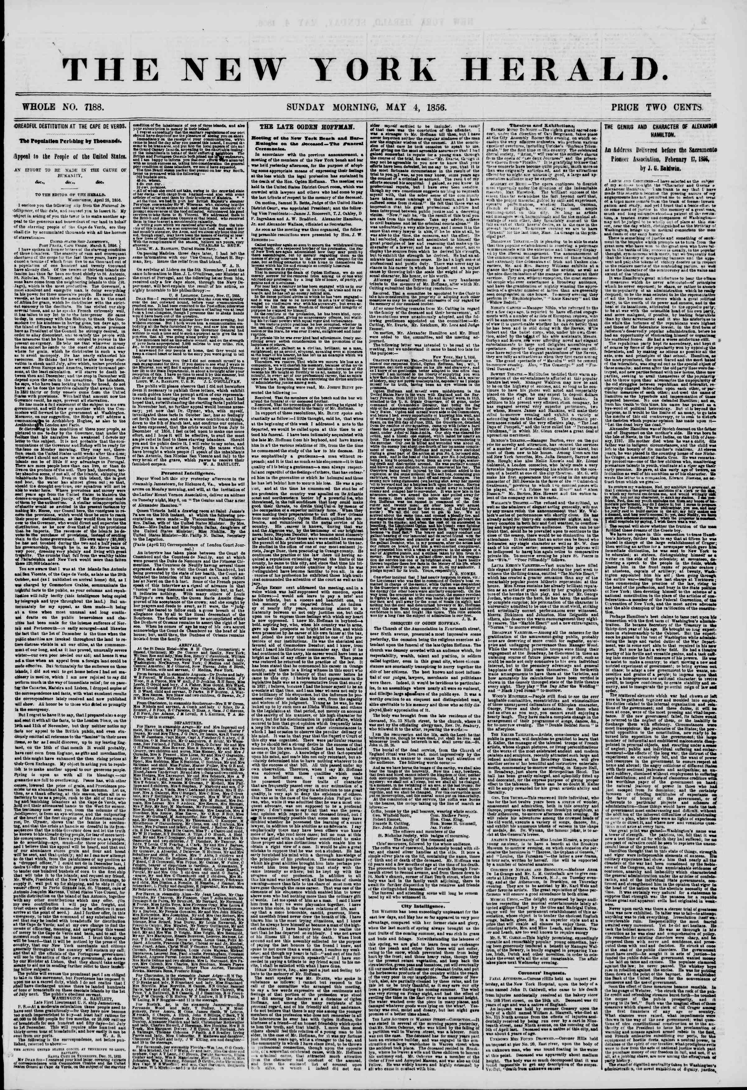 Newspaper of The New York Herald dated May 4, 1856 Page 1
