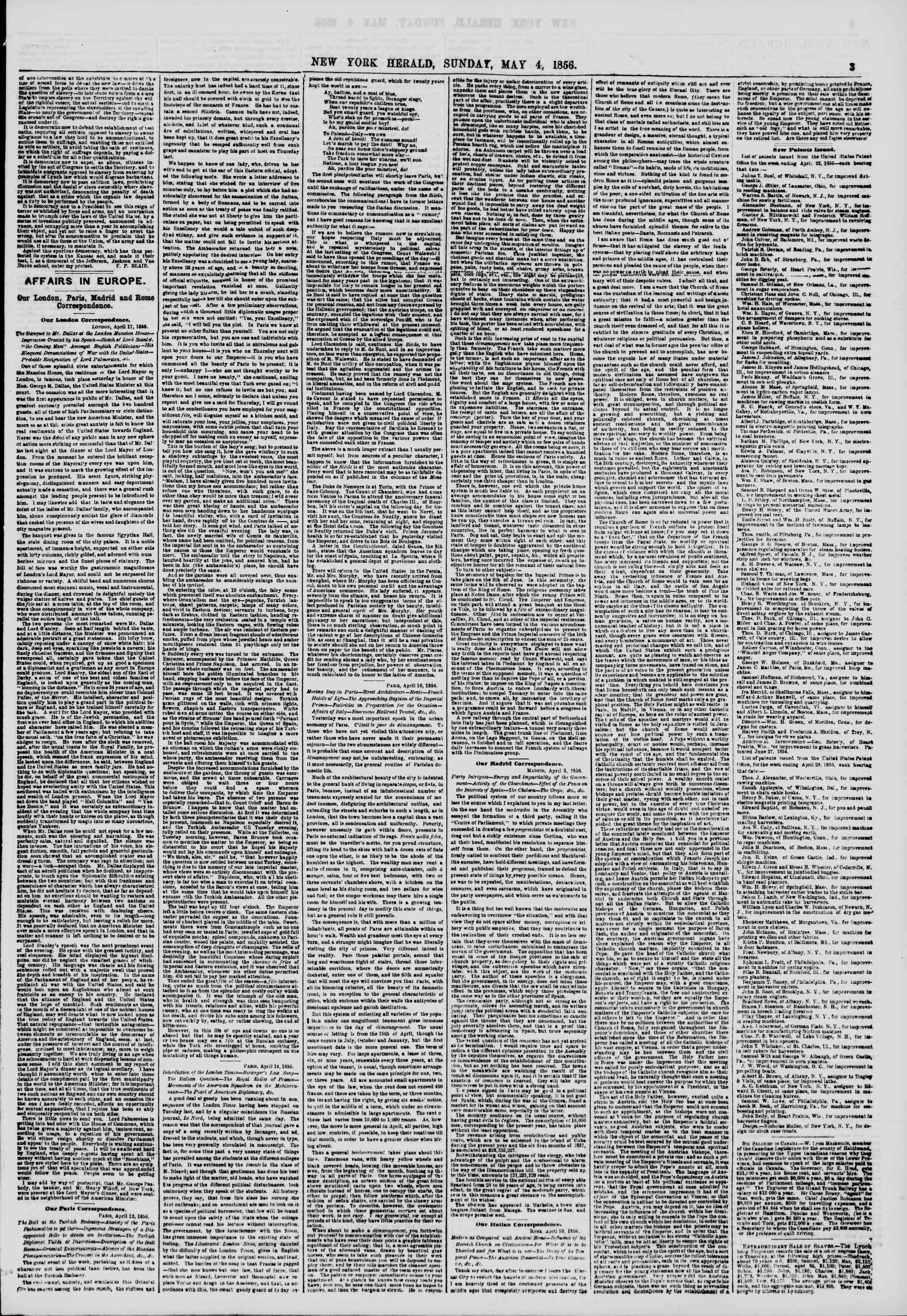 Newspaper of The New York Herald dated May 4, 1856 Page 3