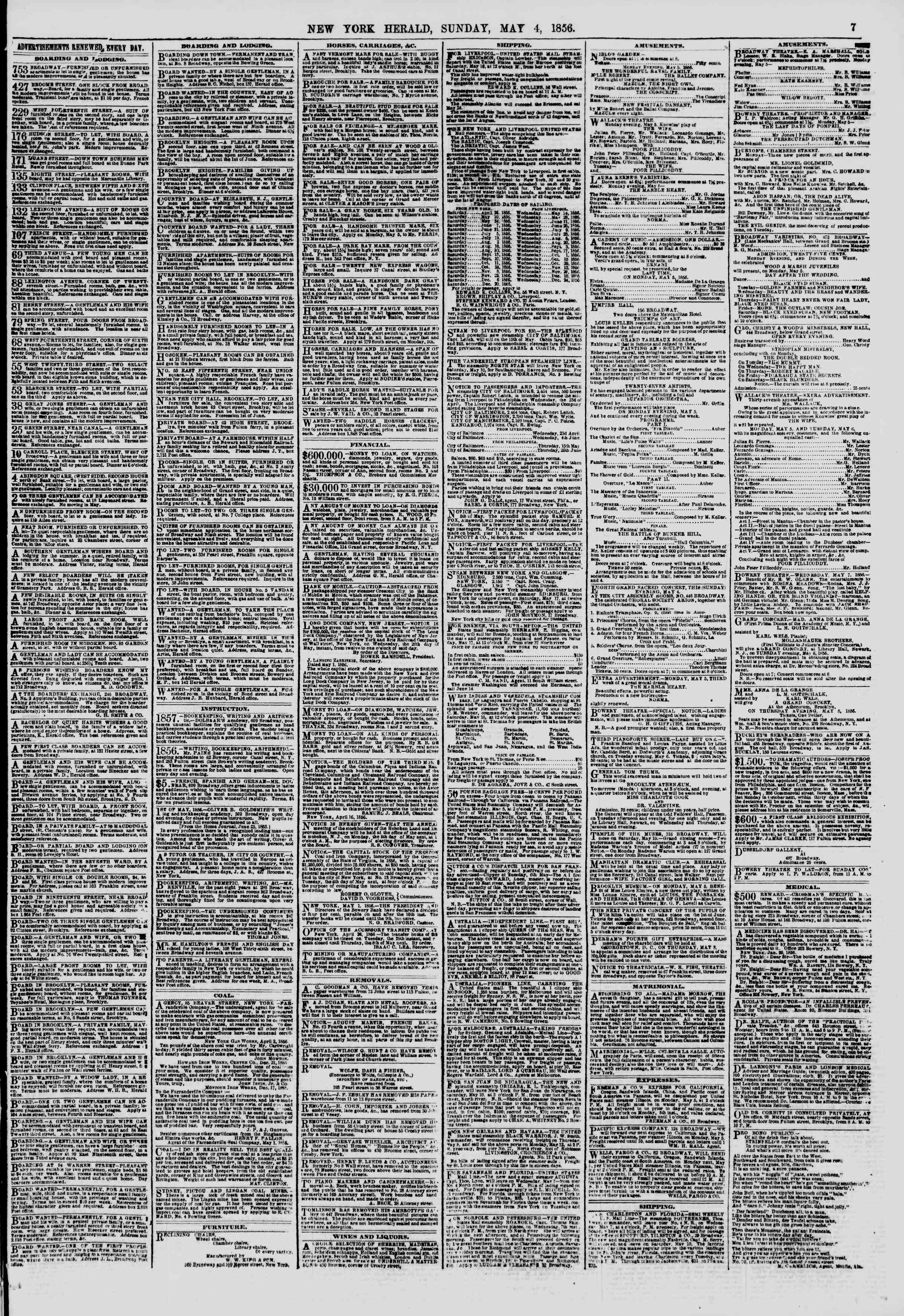 Newspaper of The New York Herald dated May 4, 1856 Page 7