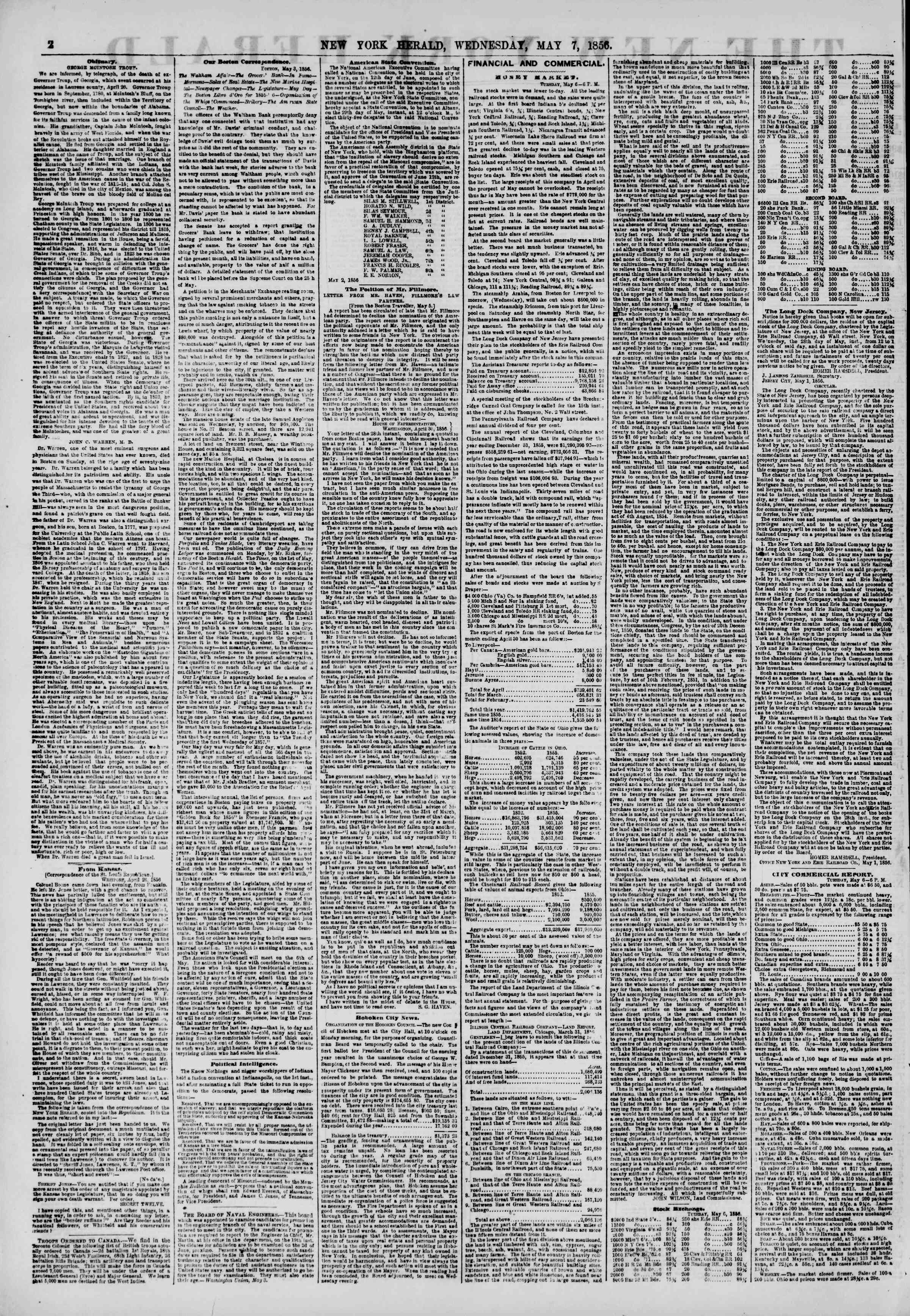 Newspaper of The New York Herald dated May 7, 1856 Page 2