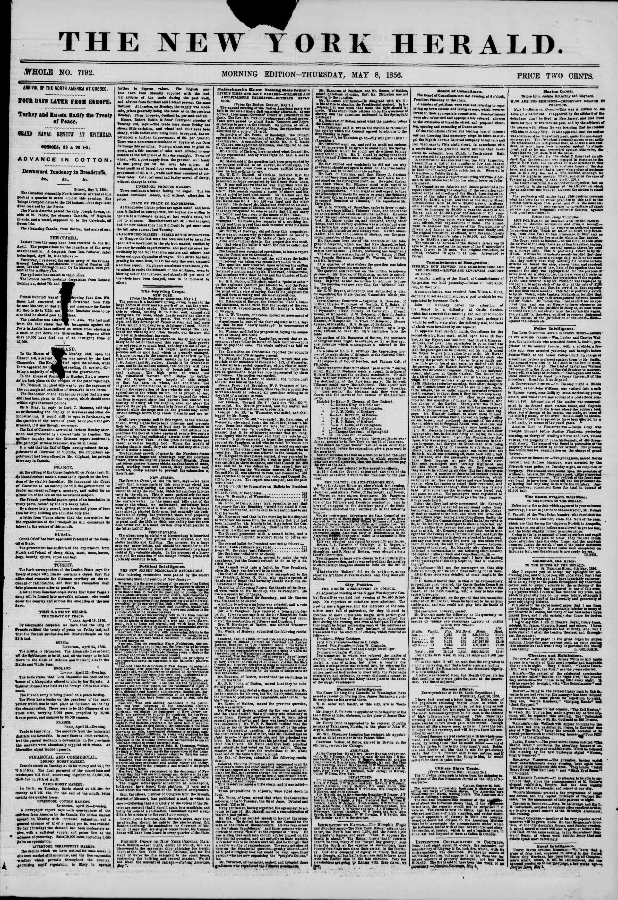 Newspaper of The New York Herald dated May 8, 1856 Page 1