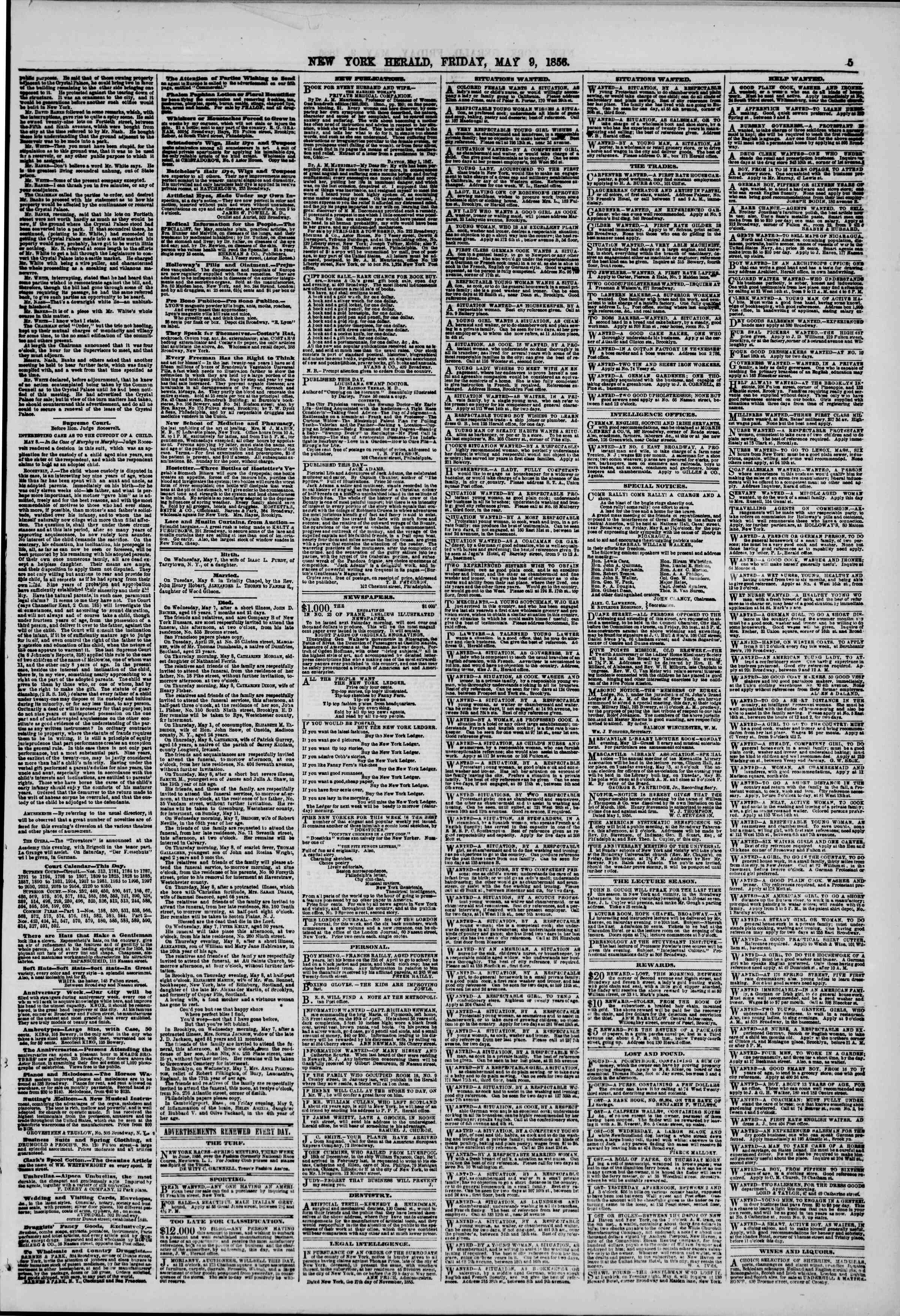 Newspaper of The New York Herald dated May 9, 1856 Page 5