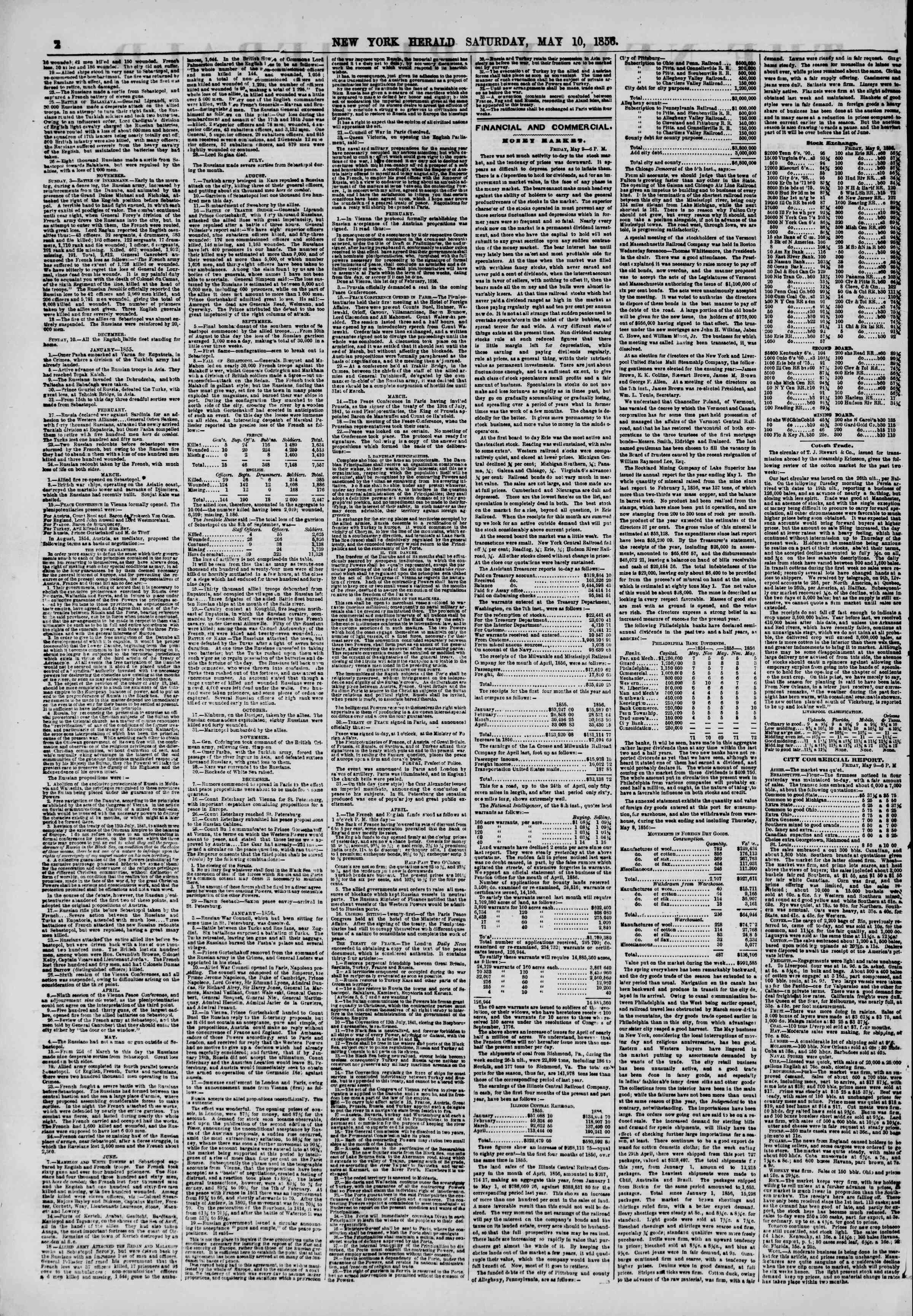 Newspaper of The New York Herald dated May 10, 1856 Page 2