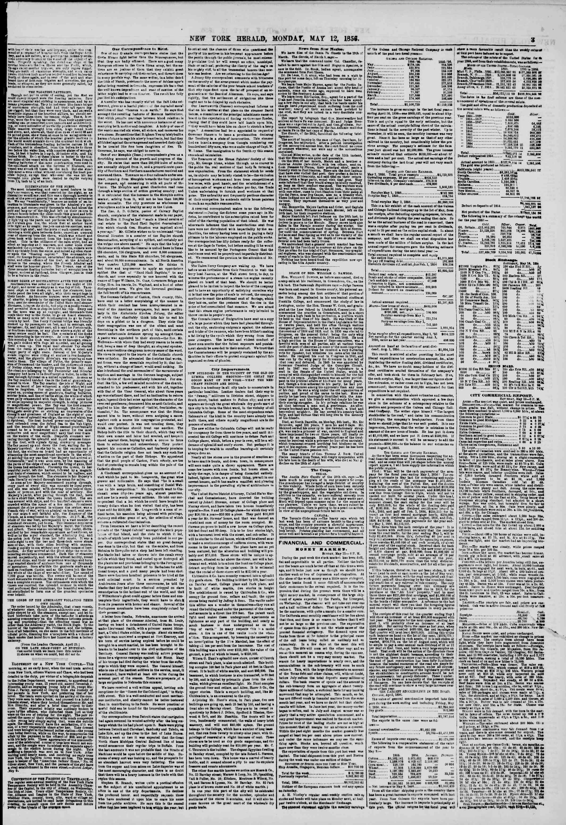 Newspaper of The New York Herald dated May 12, 1856 Page 3