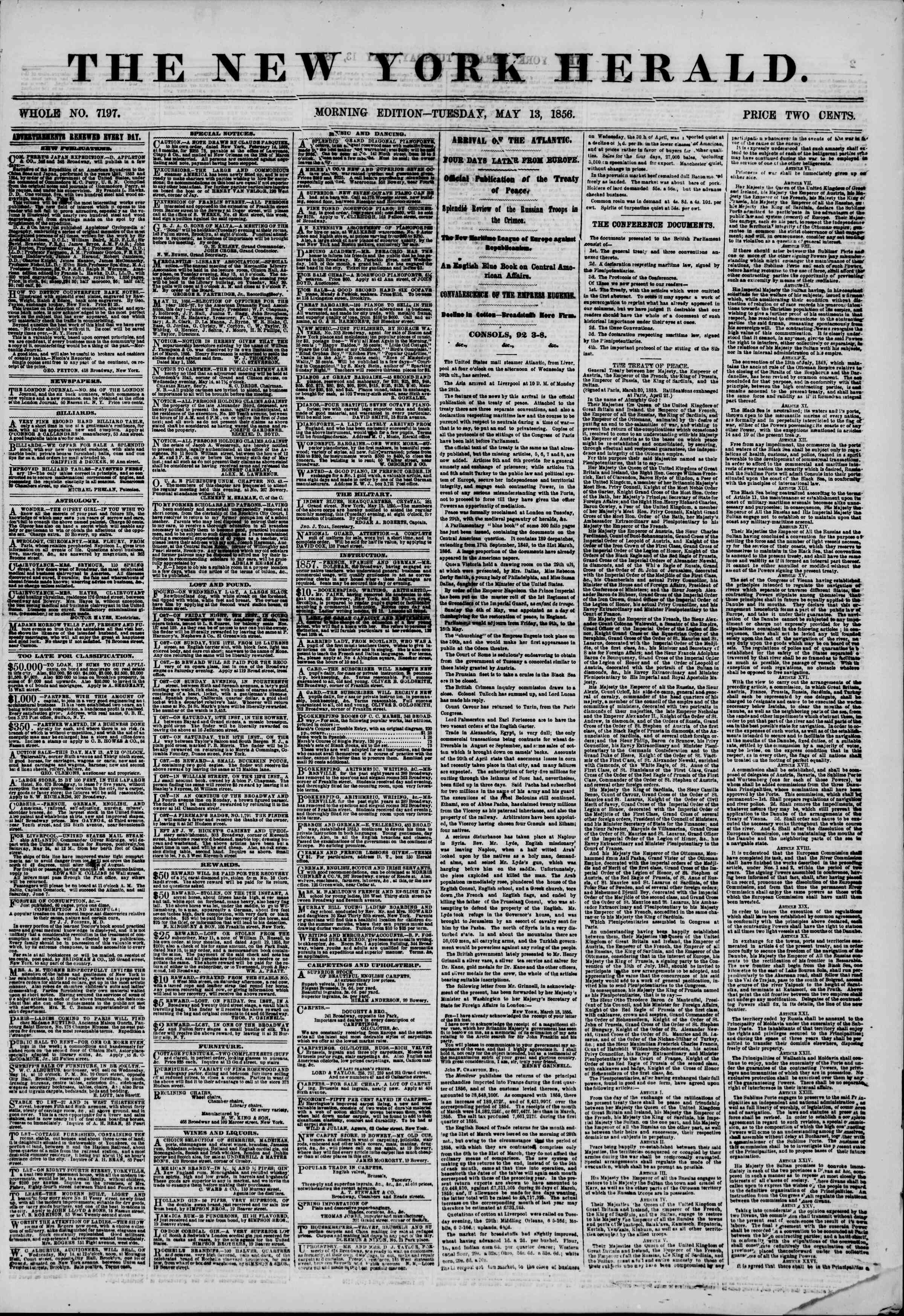 Newspaper of The New York Herald dated May 13, 1856 Page 1