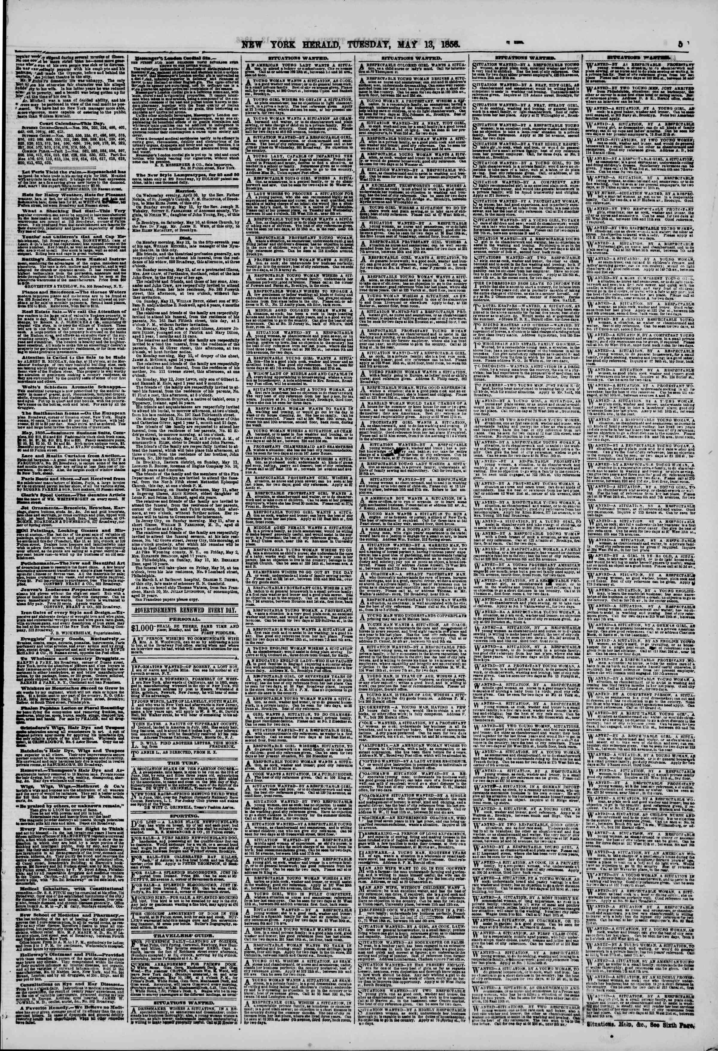 Newspaper of The New York Herald dated May 13, 1856 Page 5