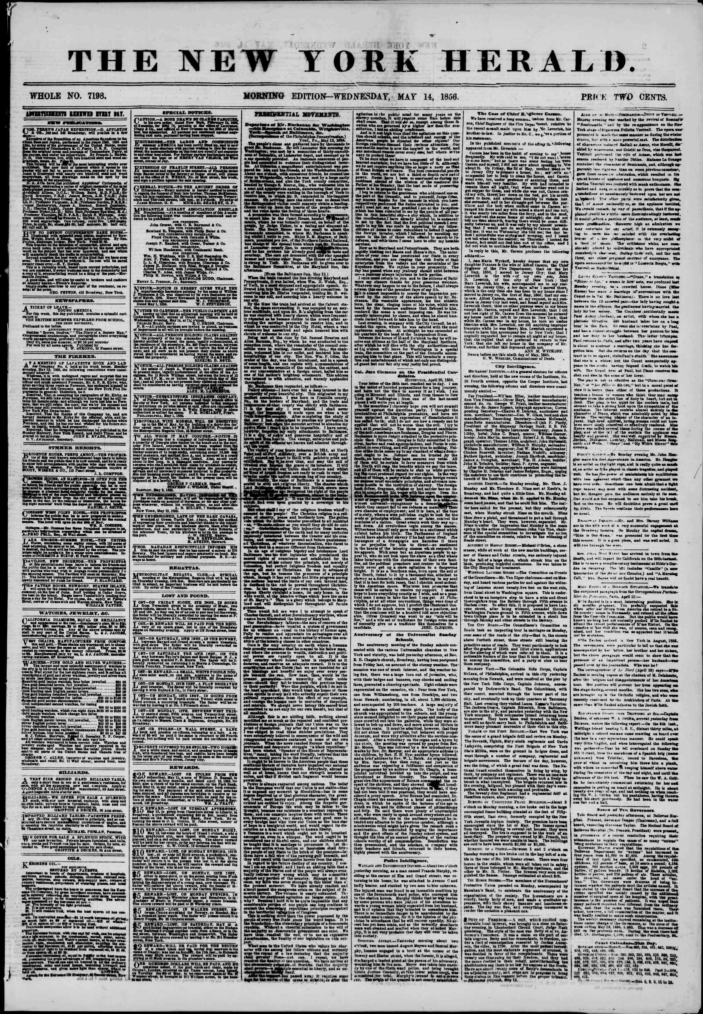 Newspaper of The New York Herald dated May 14, 1856 Page 1