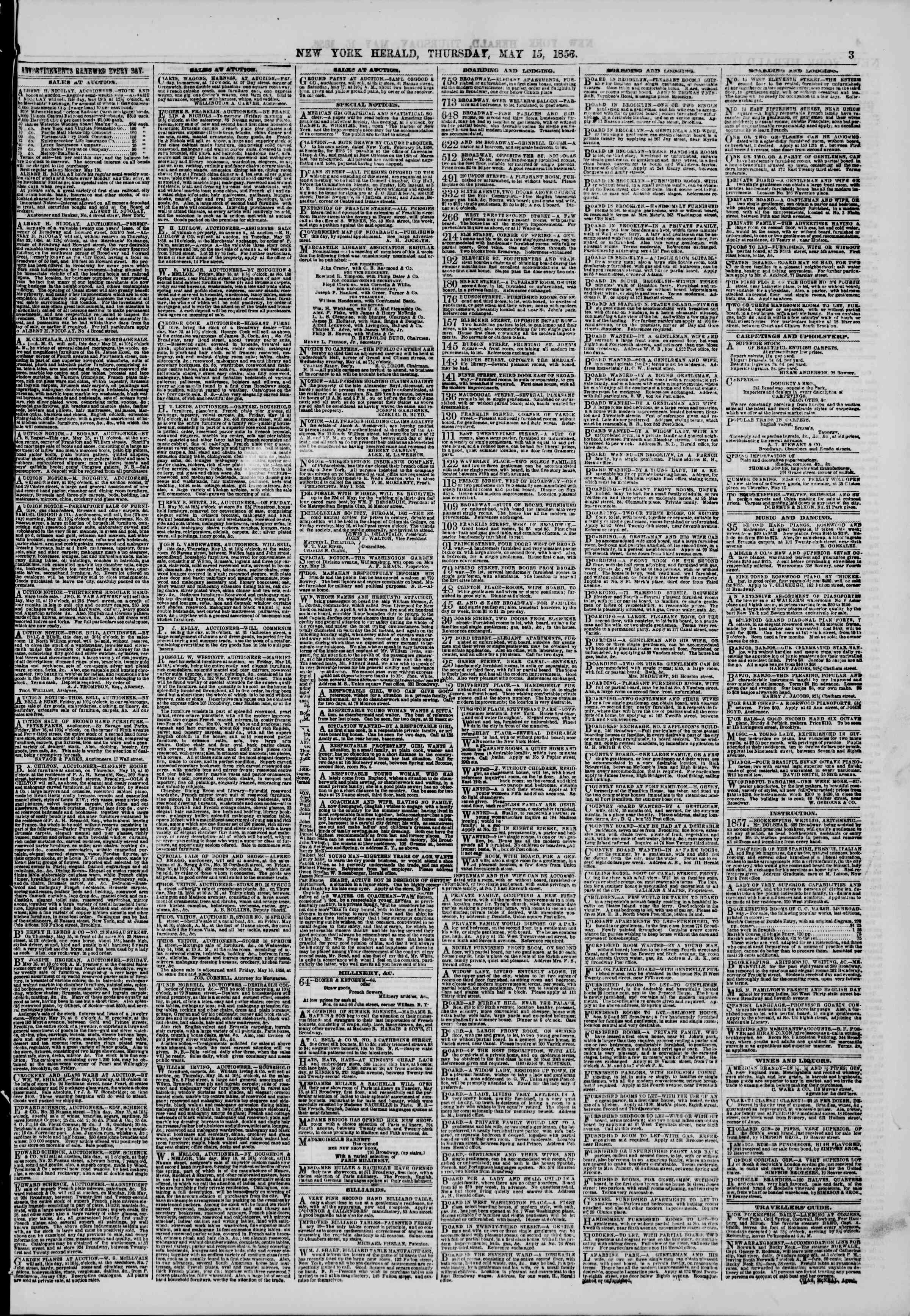 Newspaper of The New York Herald dated May 15, 1856 Page 3
