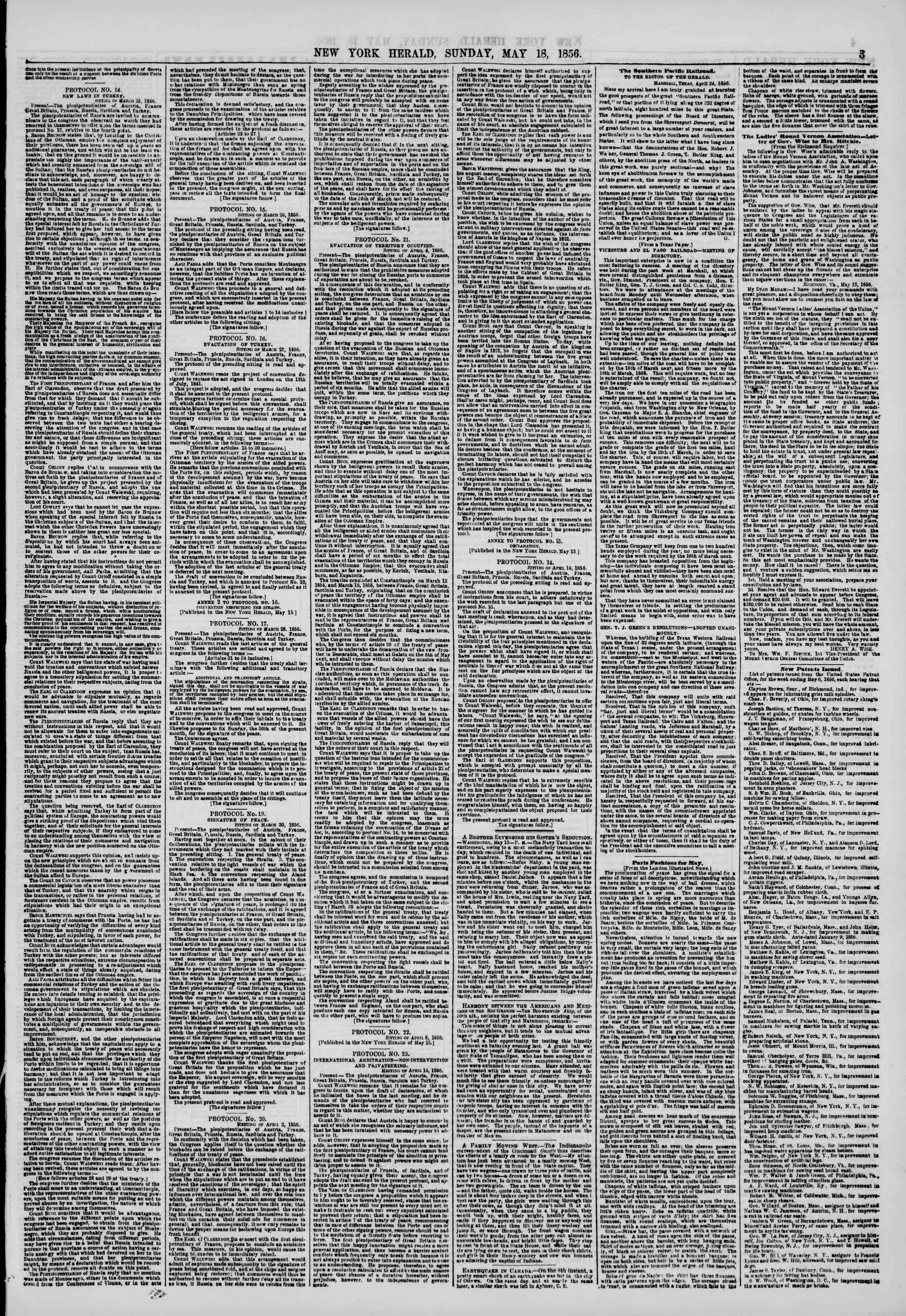 Newspaper of The New York Herald dated May 18, 1856 Page 3