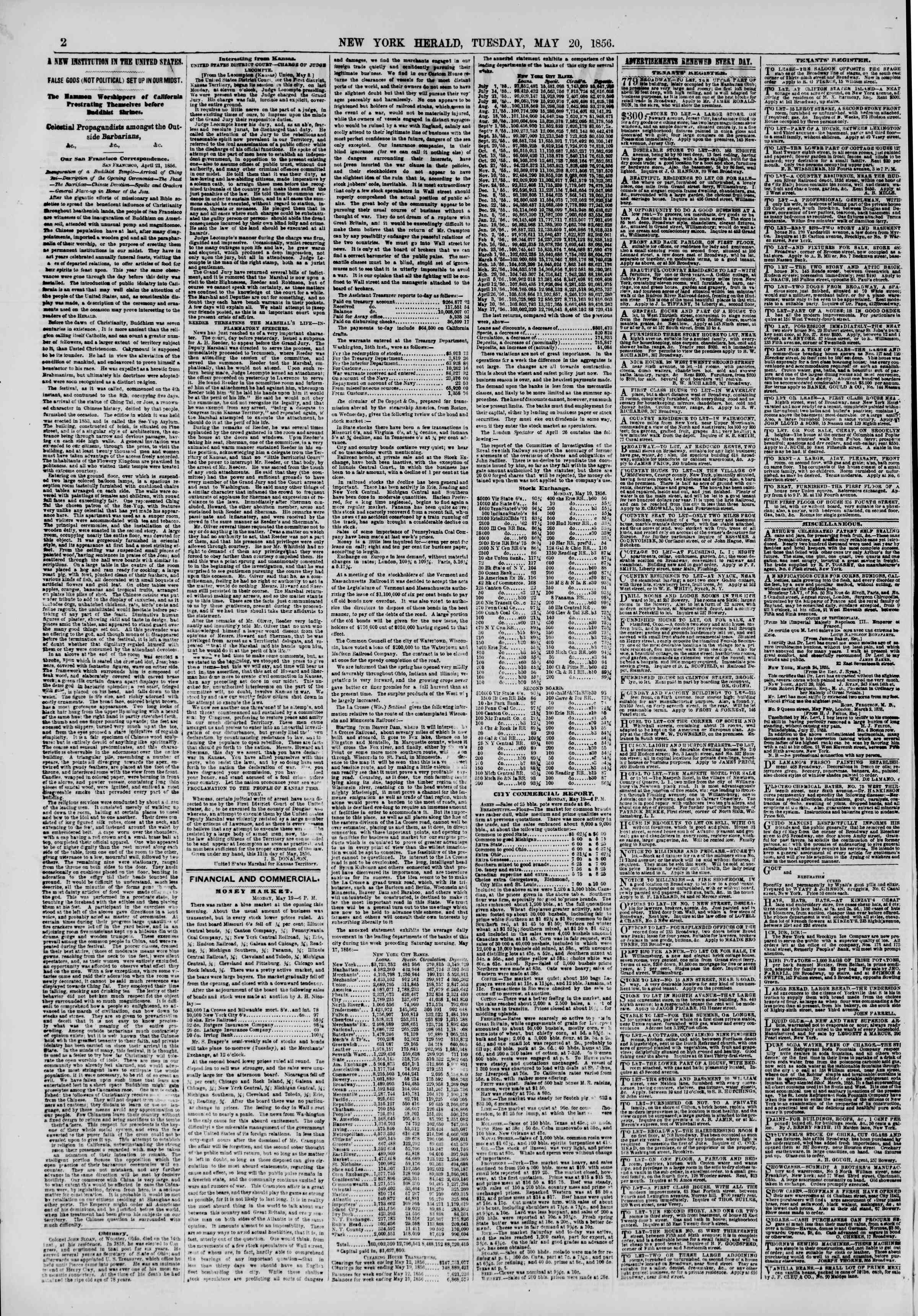 Newspaper of The New York Herald dated May 20, 1856 Page 2
