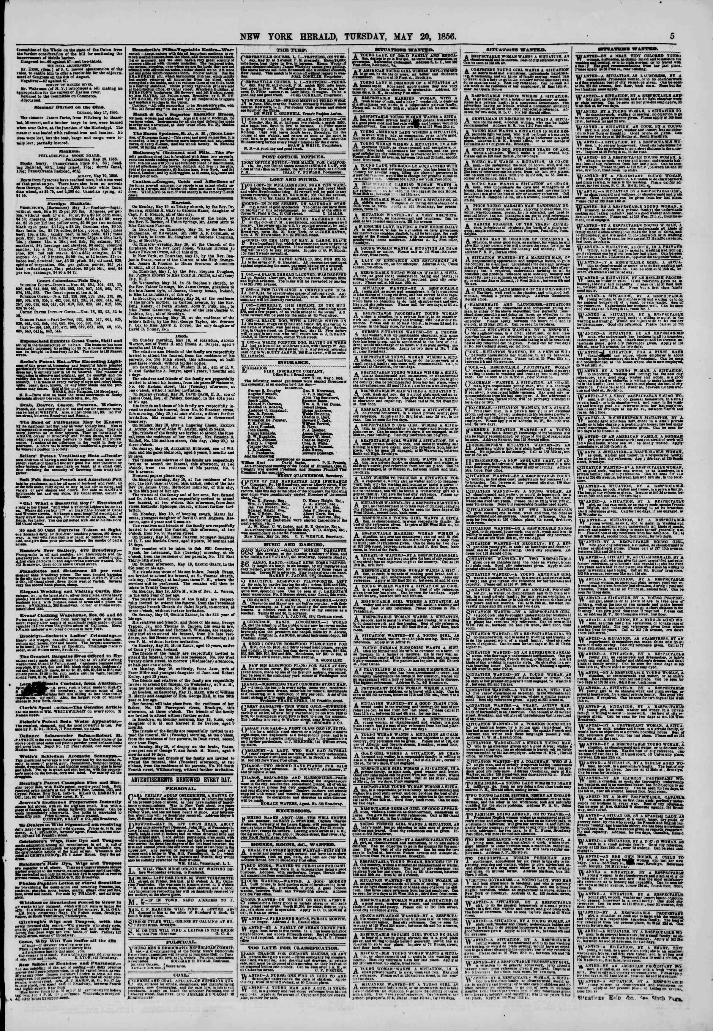 Newspaper of The New York Herald dated May 20, 1856 Page 5