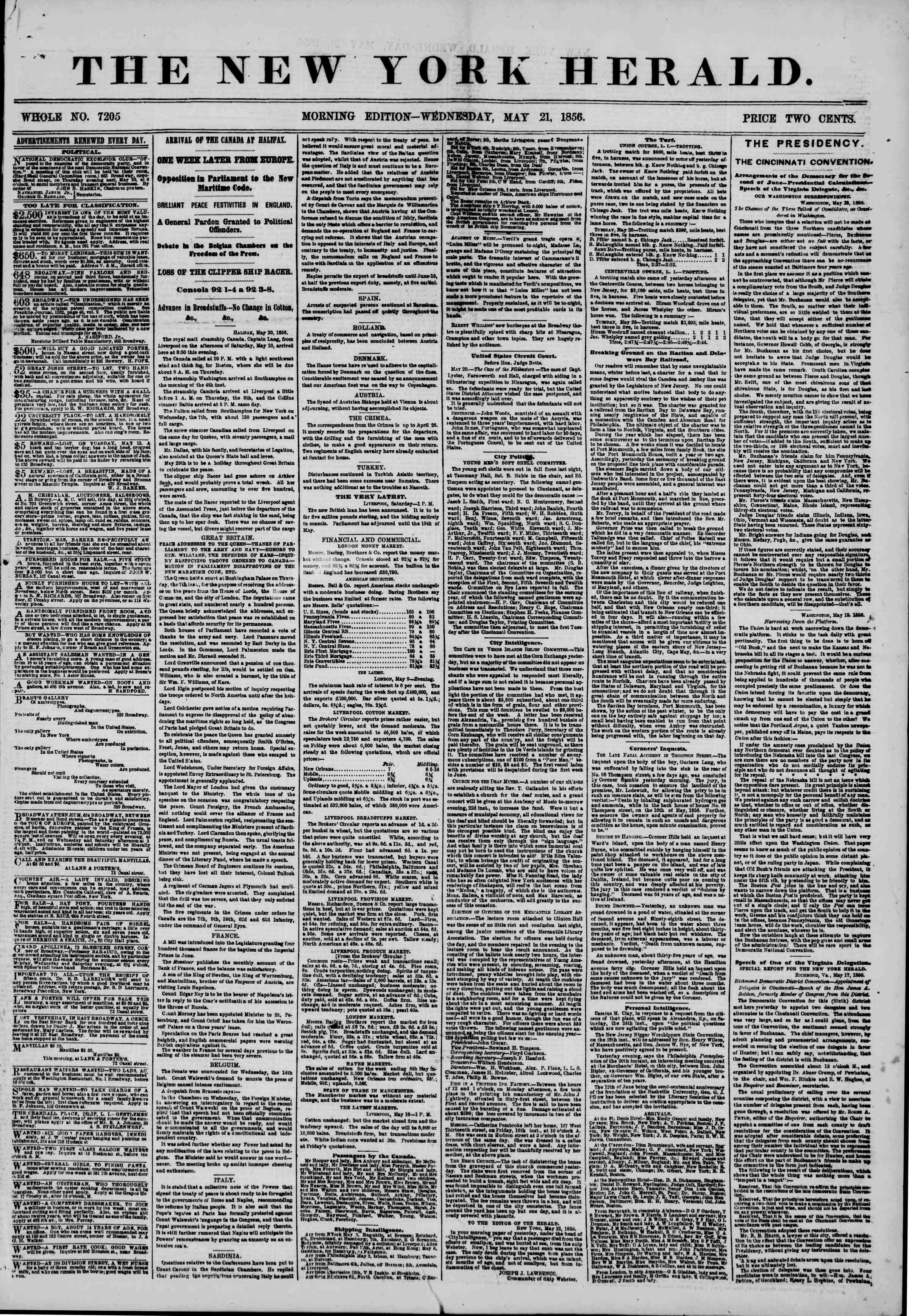 Newspaper of The New York Herald dated May 21, 1856 Page 1