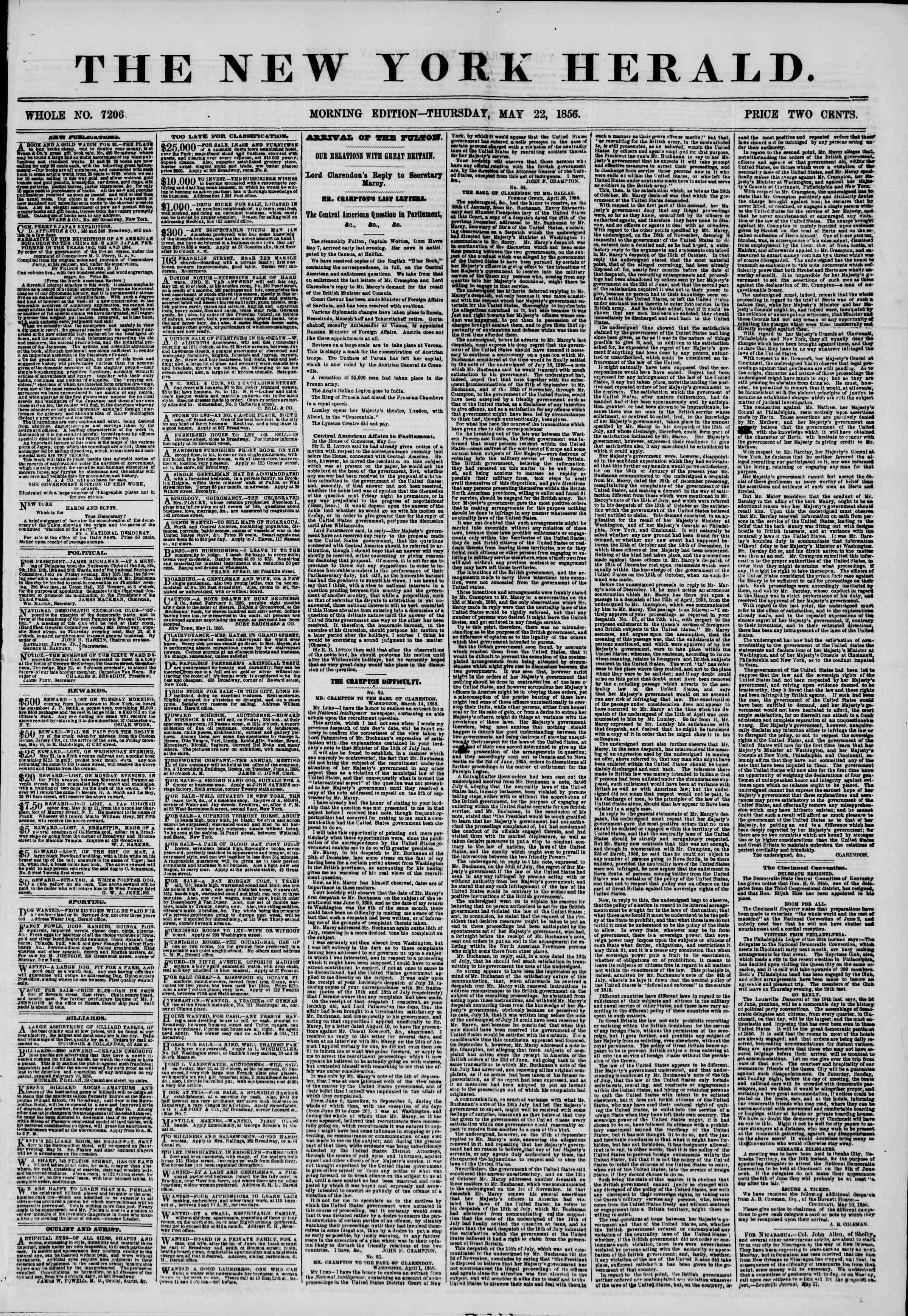 Newspaper of The New York Herald dated May 22, 1856 Page 1